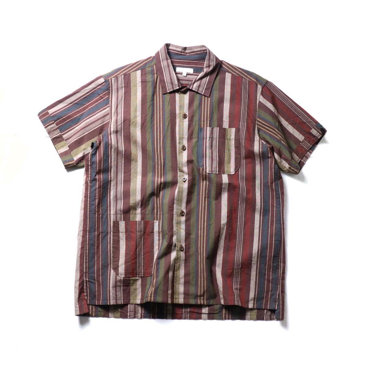 Engineered Garments / Camp Shirt -Cotton Variegated Stripe (Brown)