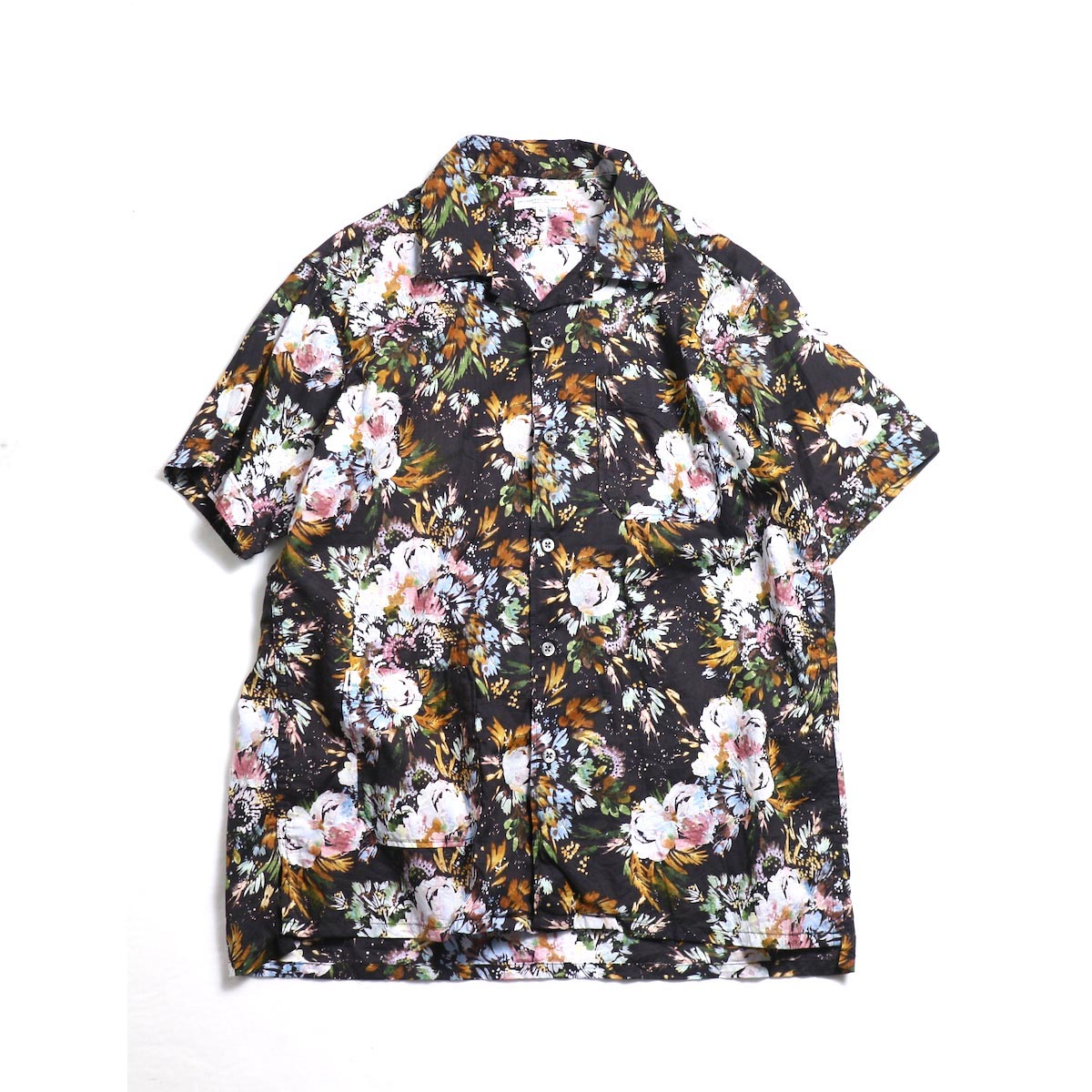 Engineered Garments / Camp Shirt (Botany Printed Lawn) -Dk.Navy