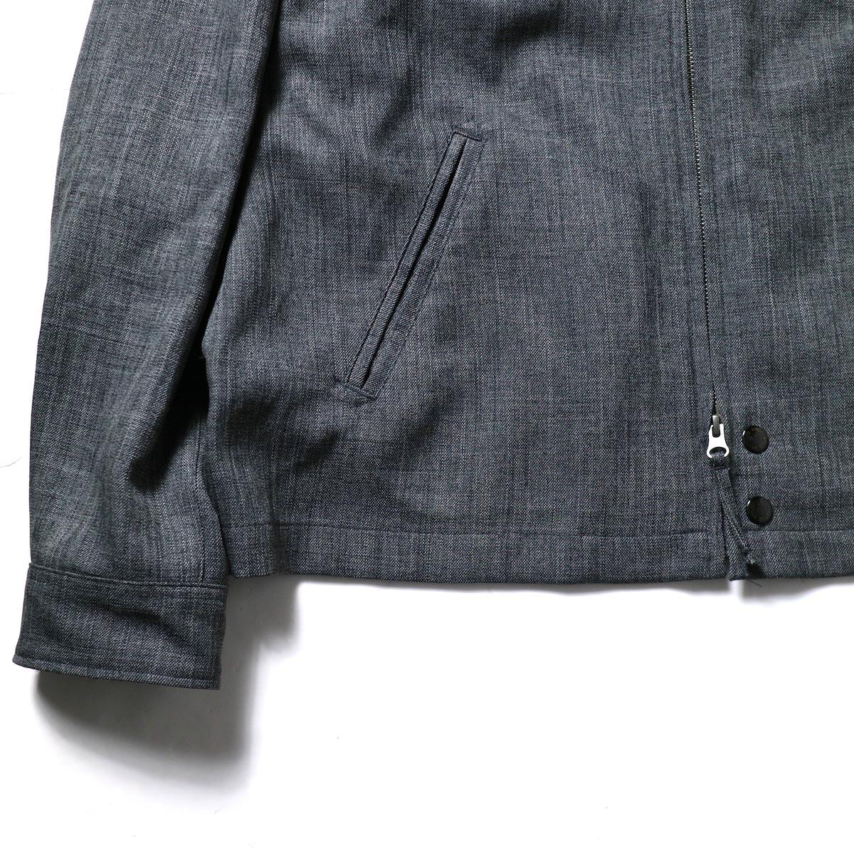 Engineered Garments / Claigton Jacket - Polyester Sharkskin (Charcoal)袖、裾