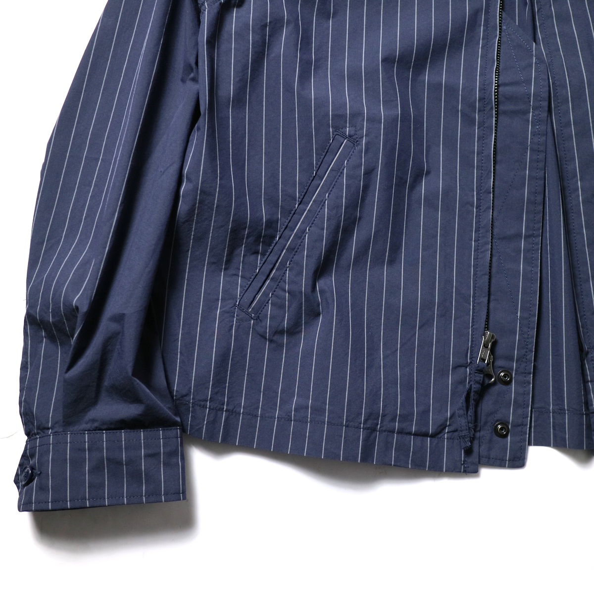 Engineered Garments / Claigton Jacket - Nyco Gangster Stripe (Dk.Navy)袖、裾