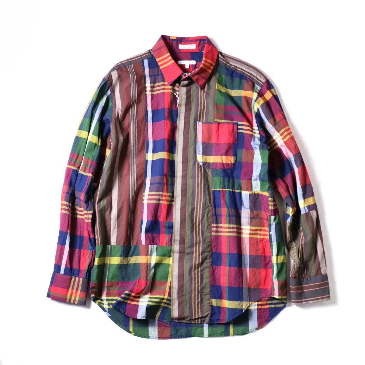Engineered Garments / Combo Short Collar Shirt -Cotton Big Madras Plaid (Red/Navy)正面