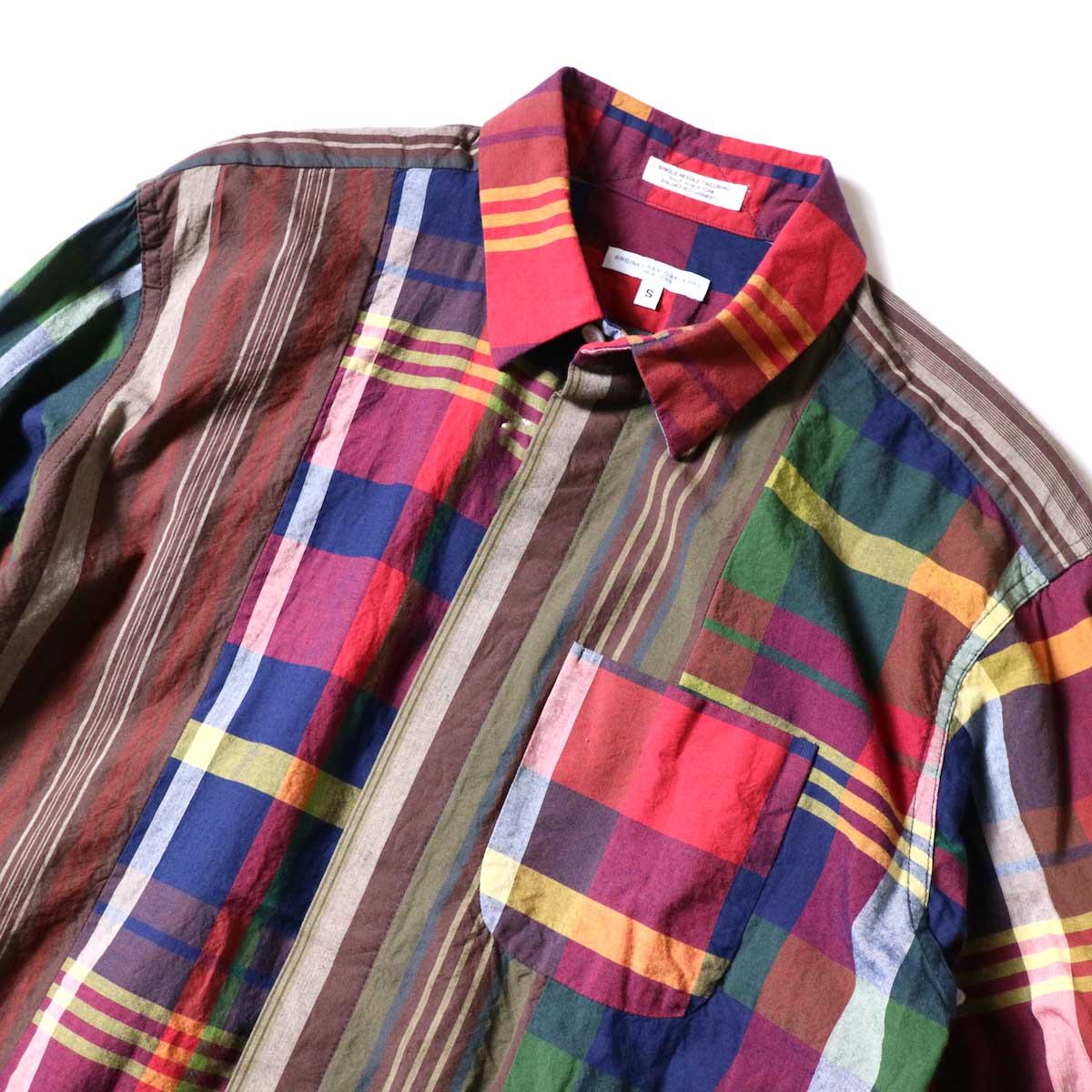 Engineered Garments / Combo Short Collar Shirt -Cotton Big Madras Plaid (Red/Navy)襟