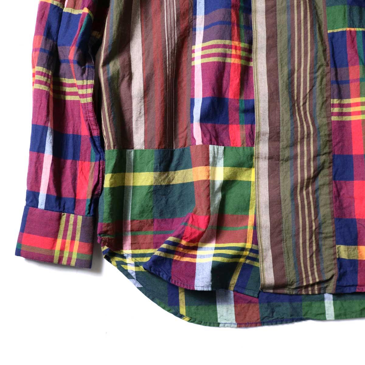 Engineered Garments / Combo Short Collar Shirt -Cotton Big Madras Plaid (Red/Nav)袖、裾