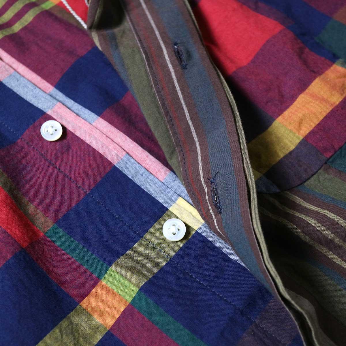 Engineered Garments / Combo Short Collar Shirt -Cotton Big Madras Plaid (Red/Nav)比翼部分