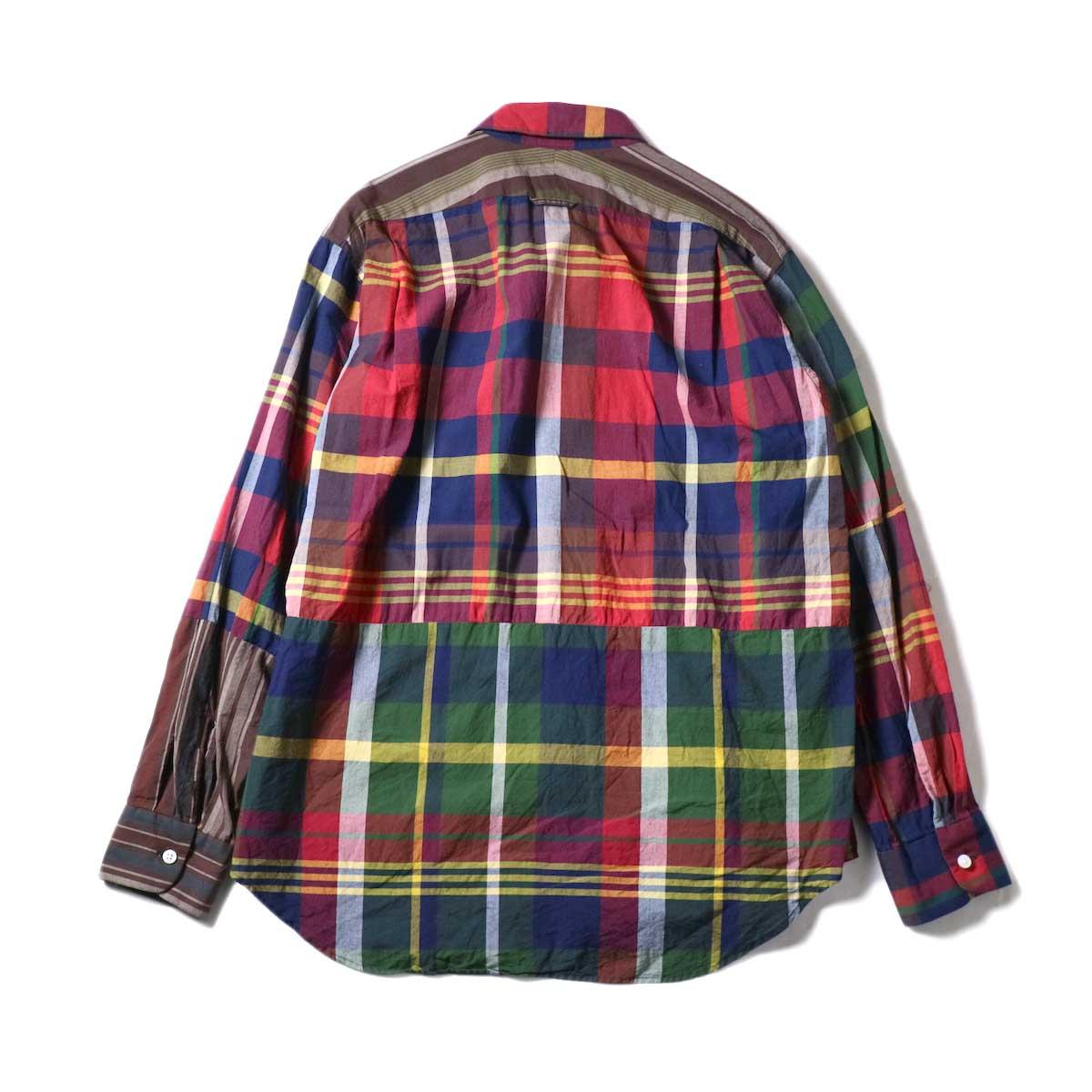 Engineered Garments / Combo Short Collar Shirt -Cotton Big Madras Plaid (Red/Nav)背面