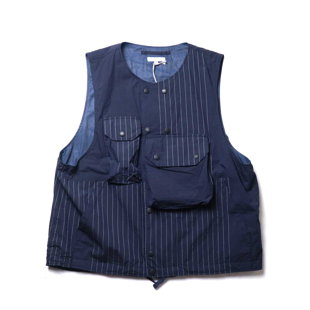 Engineered Garments / Cover Vest -Nyco Gangster Stripe (Dk.Navy)