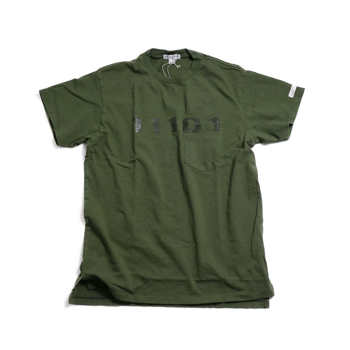 ENGINEERED GARMENTS / Printed Cross Crew Neck T-shirt 11101 -OLIVE