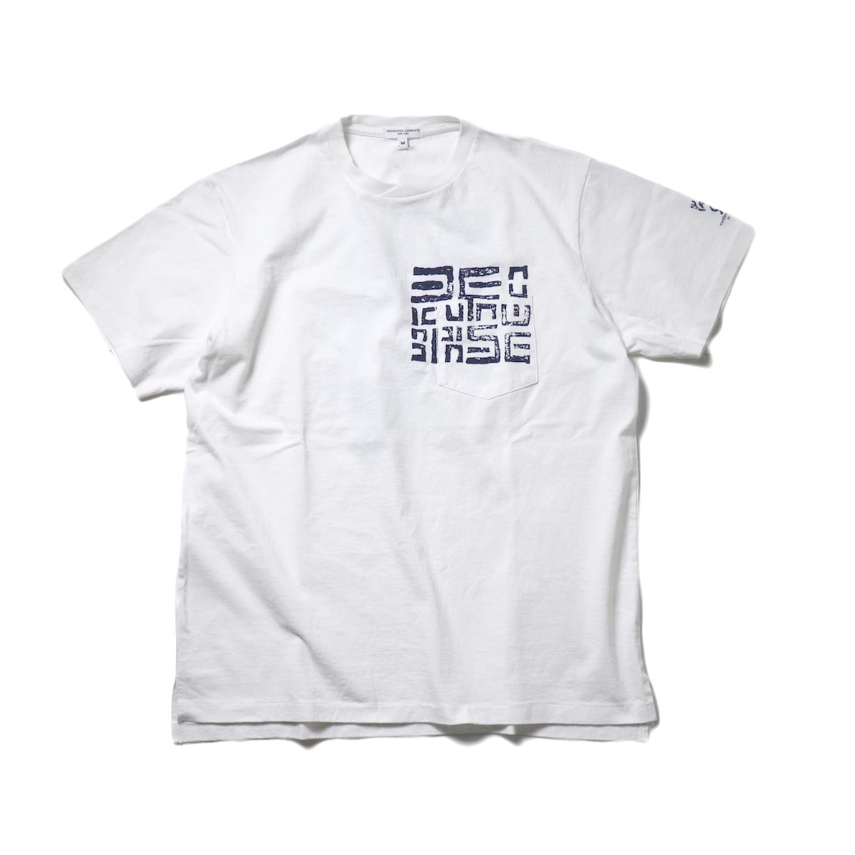 Engineered Garments / Printed Cross Crew Neck T-shirt -Square Geo (White)