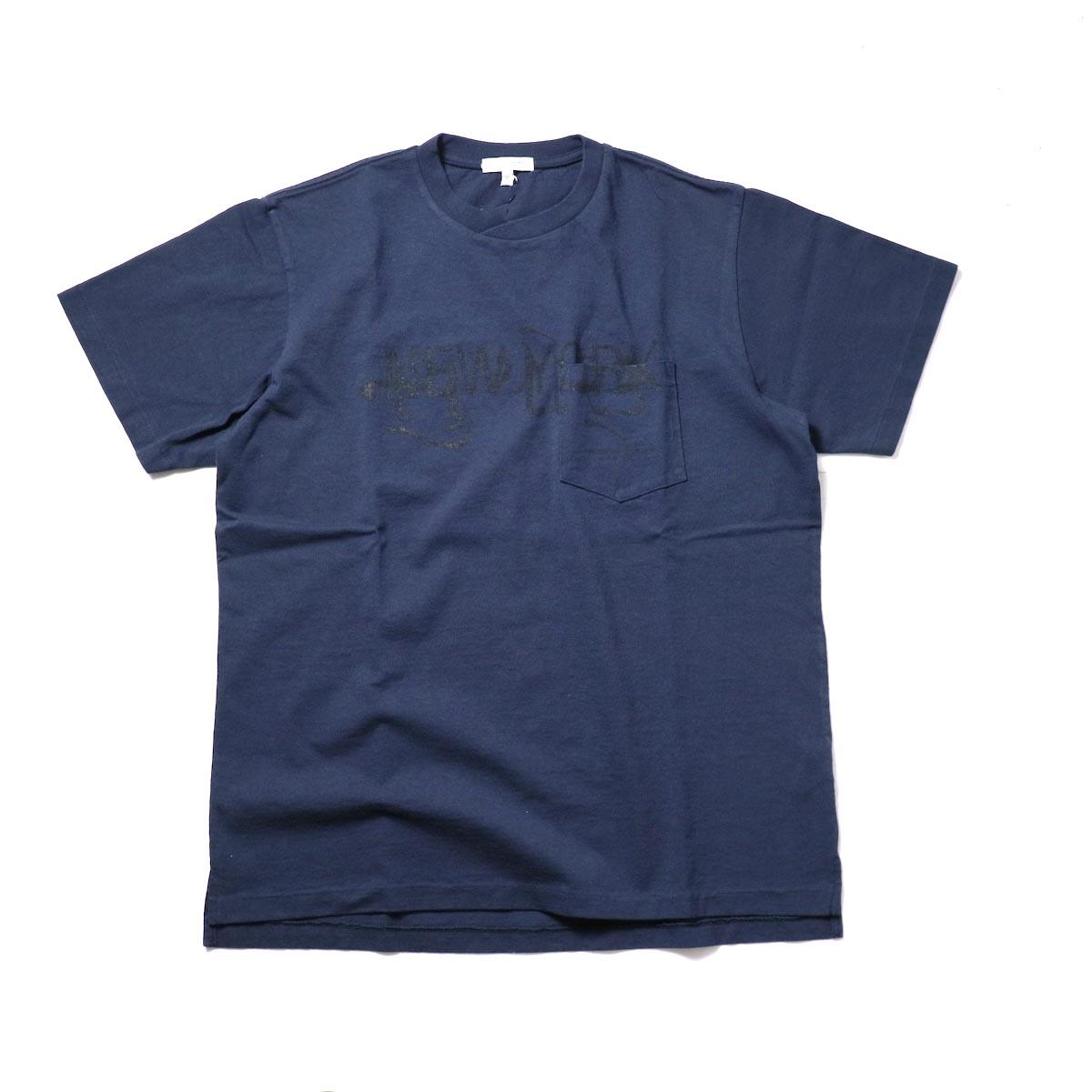 Engineered Garments / Printed Cross Crew Neck T-shirt -New York (Dk.Navy)