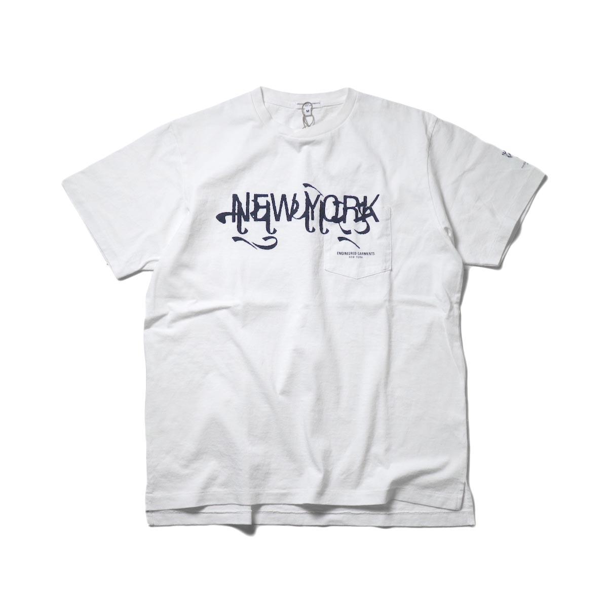 Engineered Garments / Printed Cross Crew Neck T-shirt -New York (White)