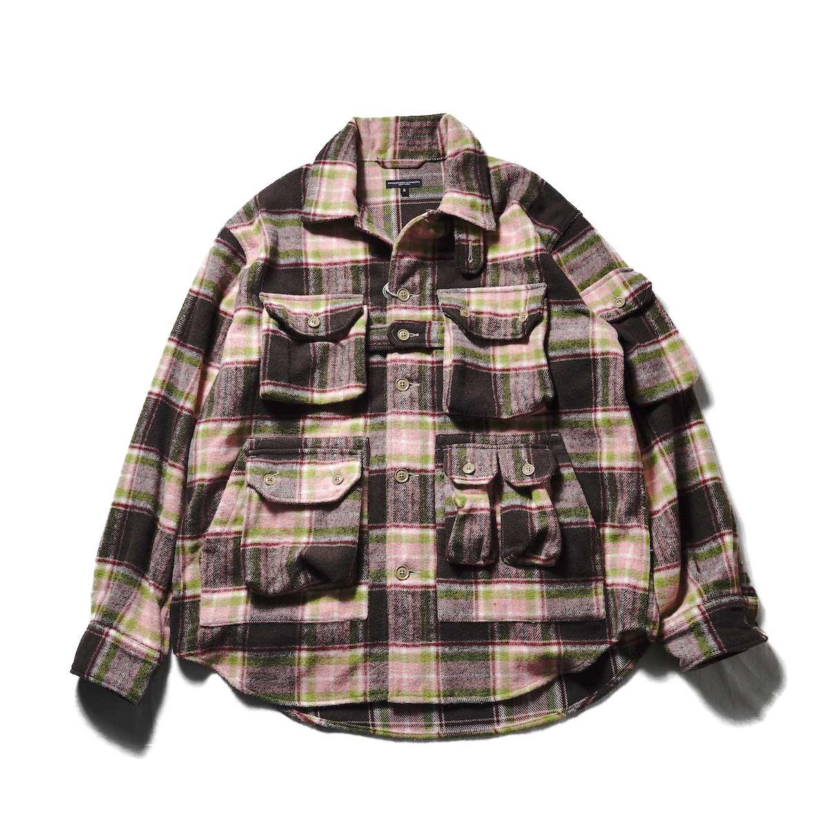 Engineered Garments / EXPLORER SHIRT JACKET - POLY WOOL PLAID (Brown / Pink)