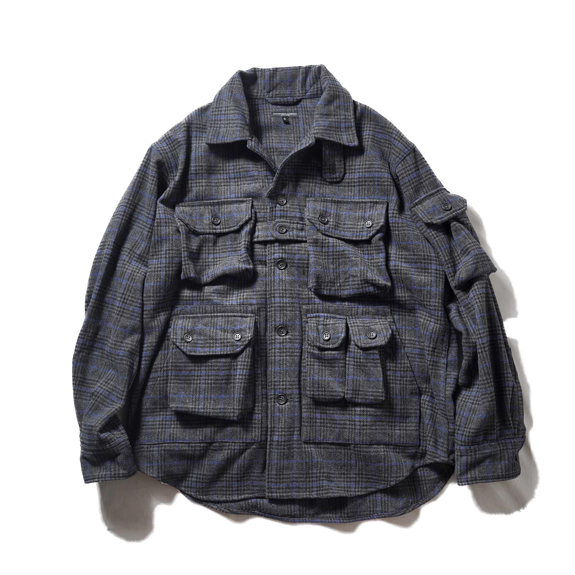 Engineered Garments / EXPLORER SHIRT JACKET - POLY WOOL GLEN PLAID (Dk.Gray / Blue)