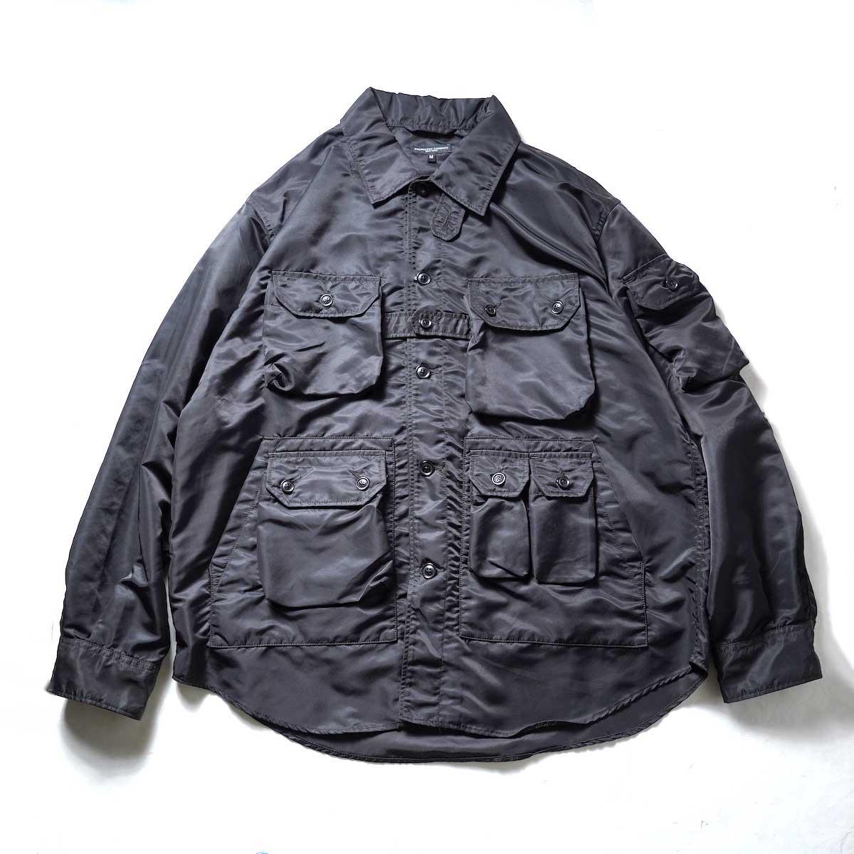 Engineered Garments / EXPLORER SHIRT JACKET - FLIGHT SATIN NYLON (Black)