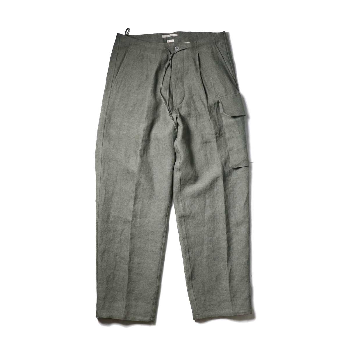 Blurhms / Wash Linen 5P Easy Pants (KhakiGrey)正面
