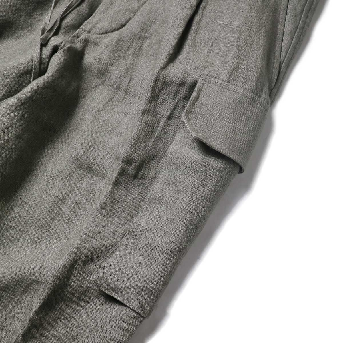 Blurhms / Wash Linen 5P Easy Pants (KhakiGrey)ポケット