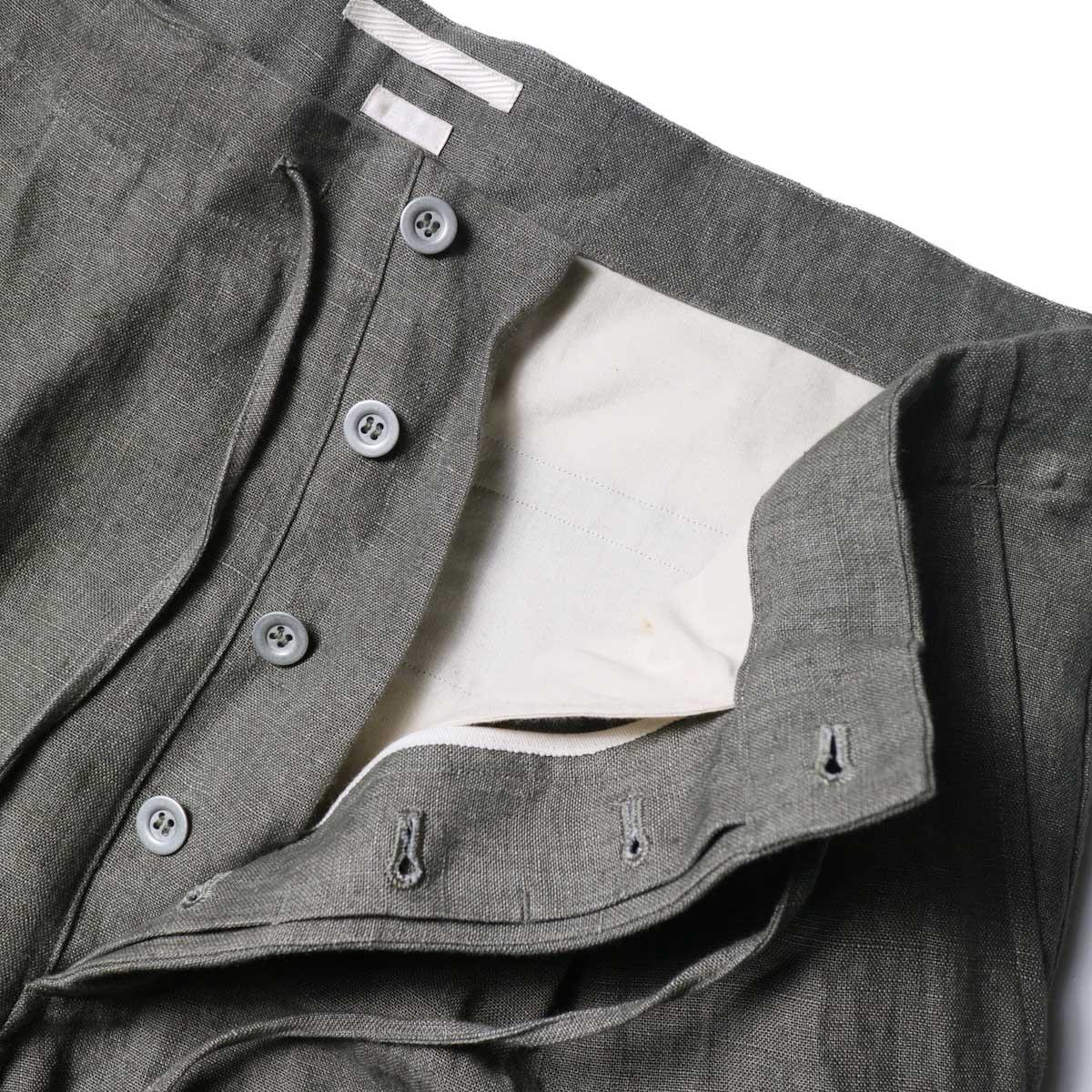 Blurhms / Wash Linen 5P Easy Pants (KhakiGrey)ボタンフライ
