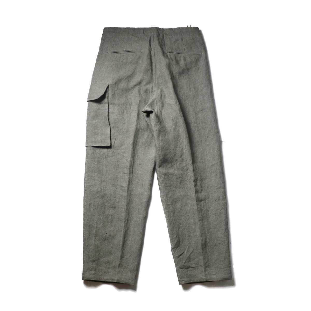 Blurhms / Wash Linen 5P Easy Pants (KhakiGrey)背面