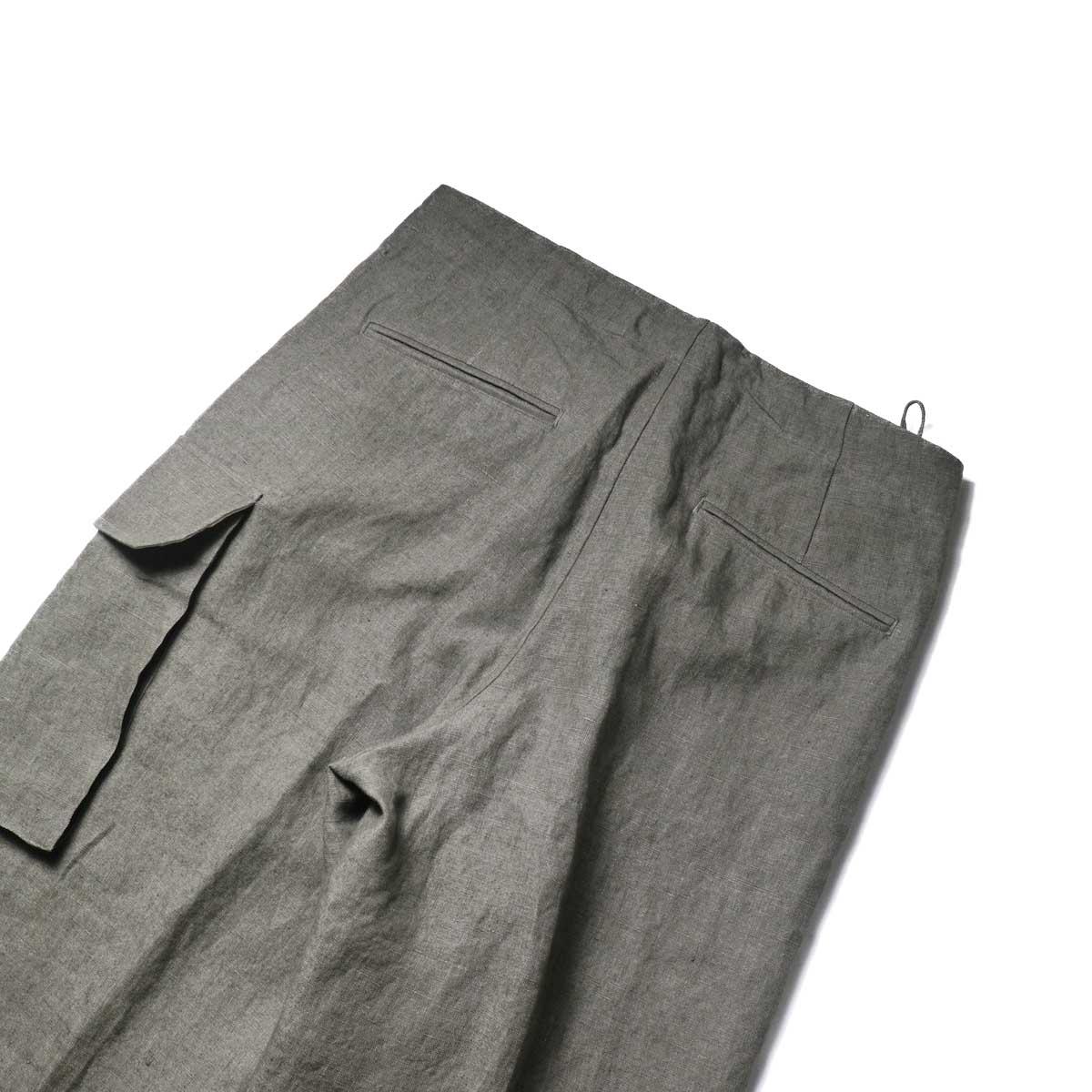 Blurhms / Wash Linen 5P Easy Pants (KhakiGrey)ヒップポケット
