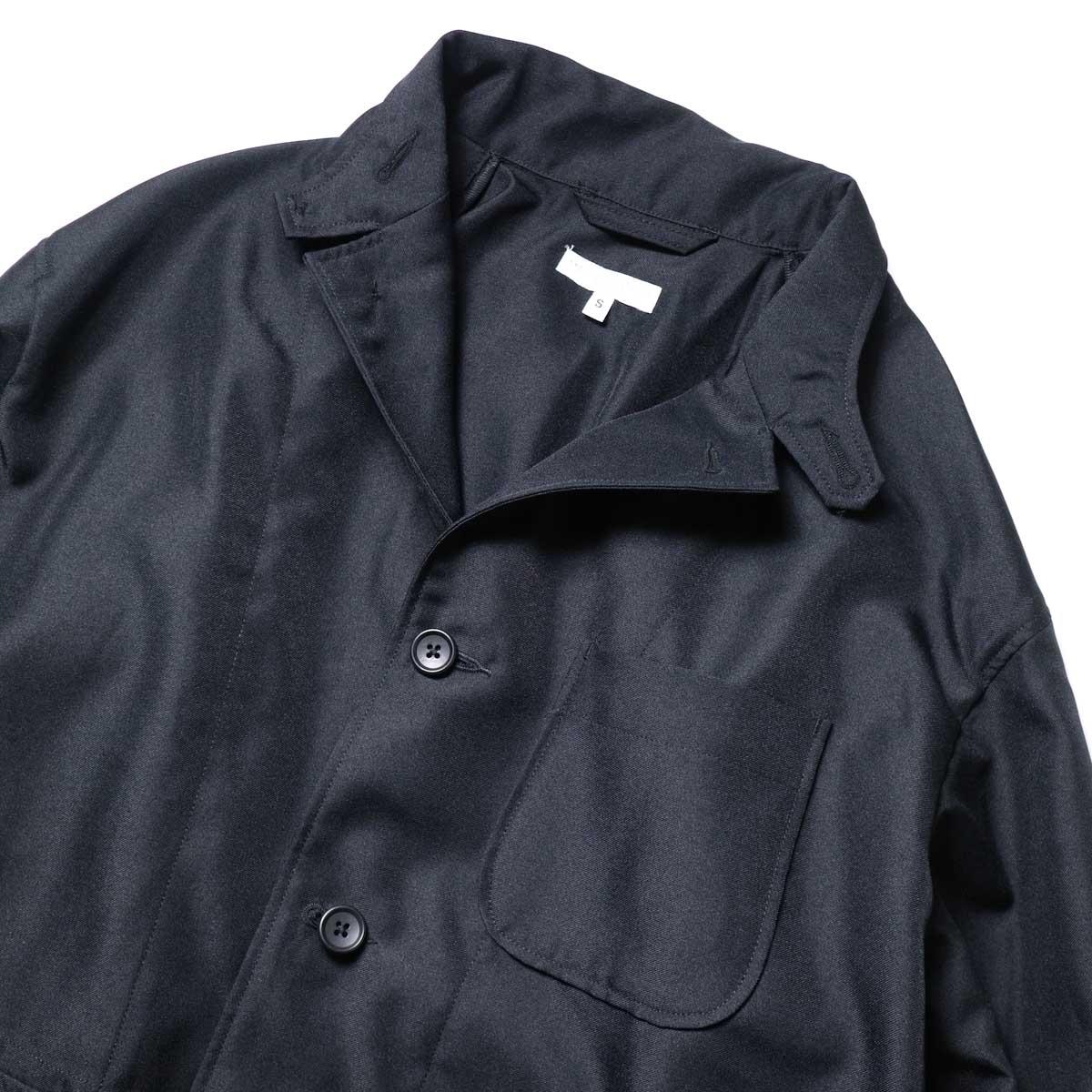 Engineered Garments / Loiter Jacket -Polyester Twill (Black)ラペル