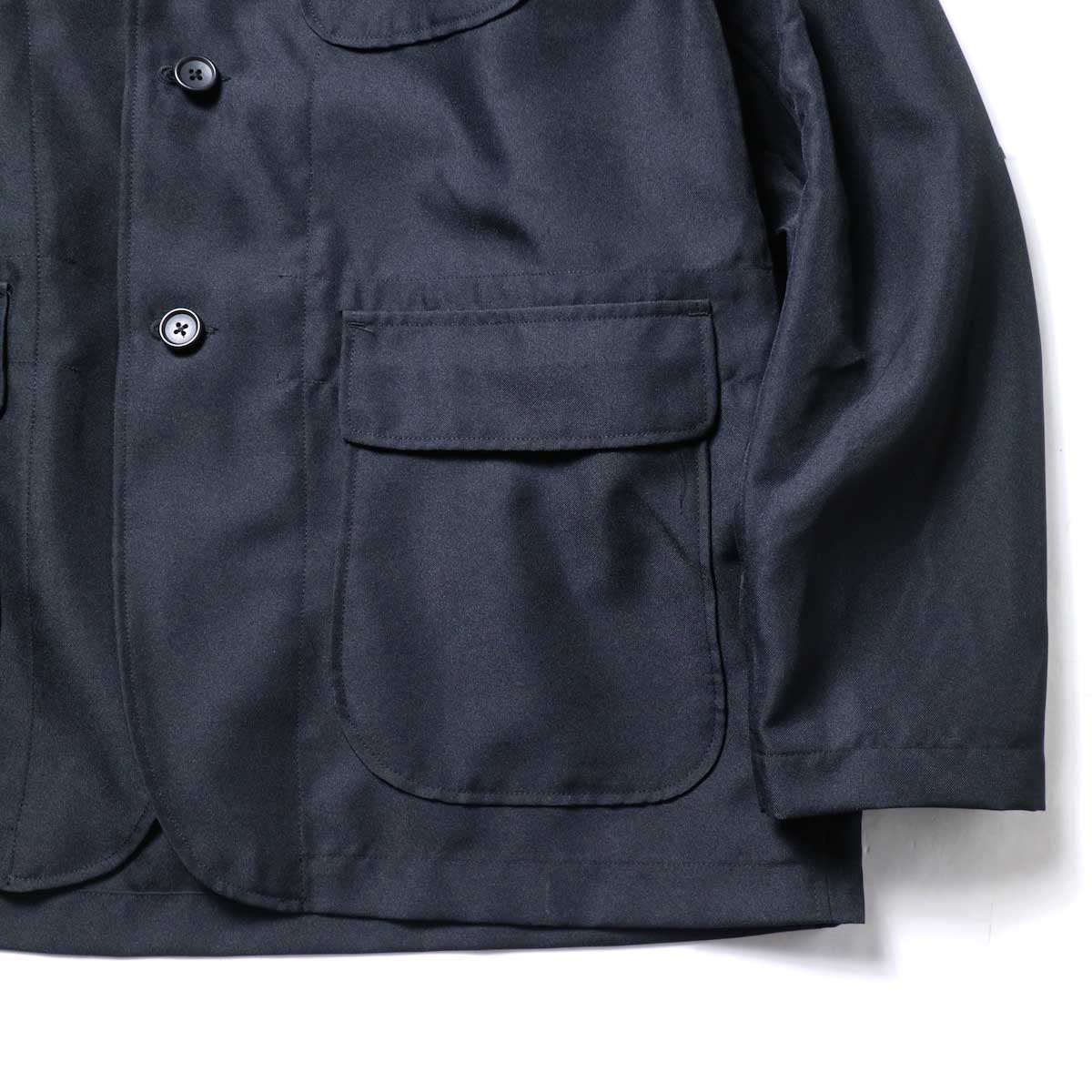 Engineered Garments / Loiter Jacket -Polyester Twill (Black)フラップポケット