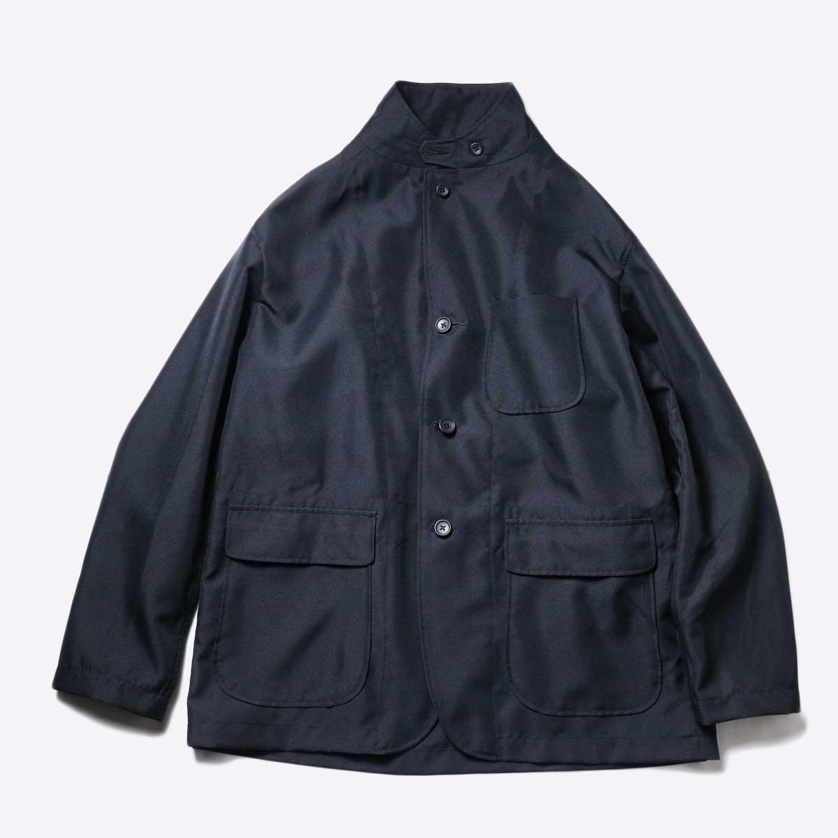 Engineered Garments / Loiter Jacket -Polyester Twill (Black)襟立てた場合