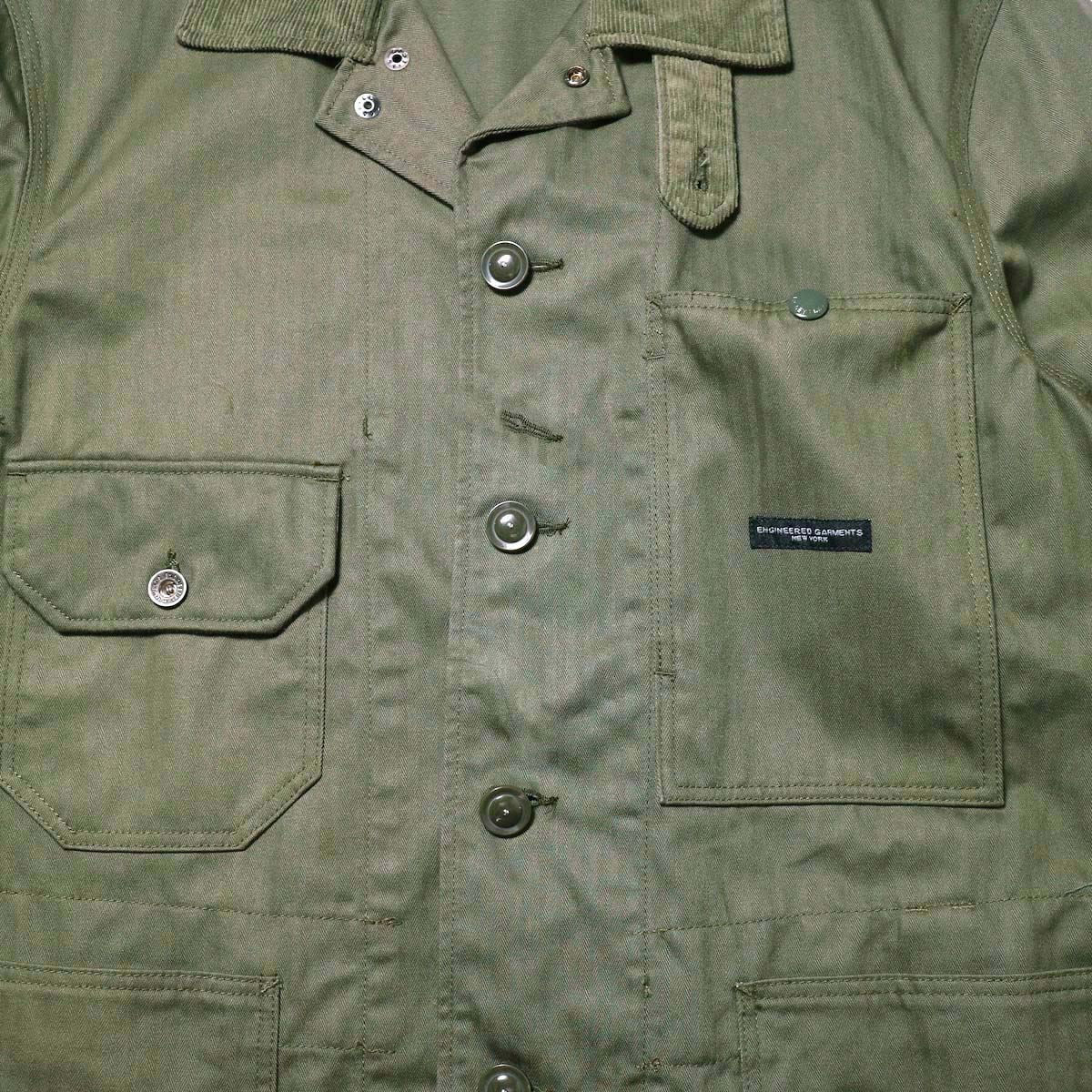 Engineered Garments / Long Logger Jacket -Hb Twill (Olive)左右非対称のポケット