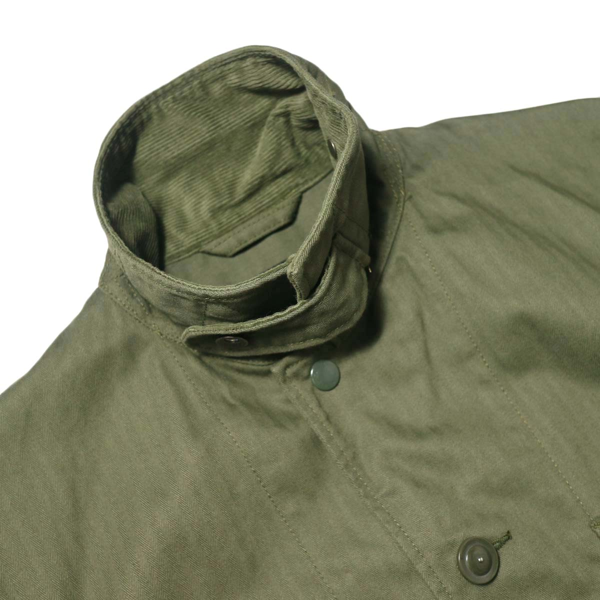 Engineered Garments / Long Logger Jacket -Hb Twill (Olive)襟、チンフラップ
