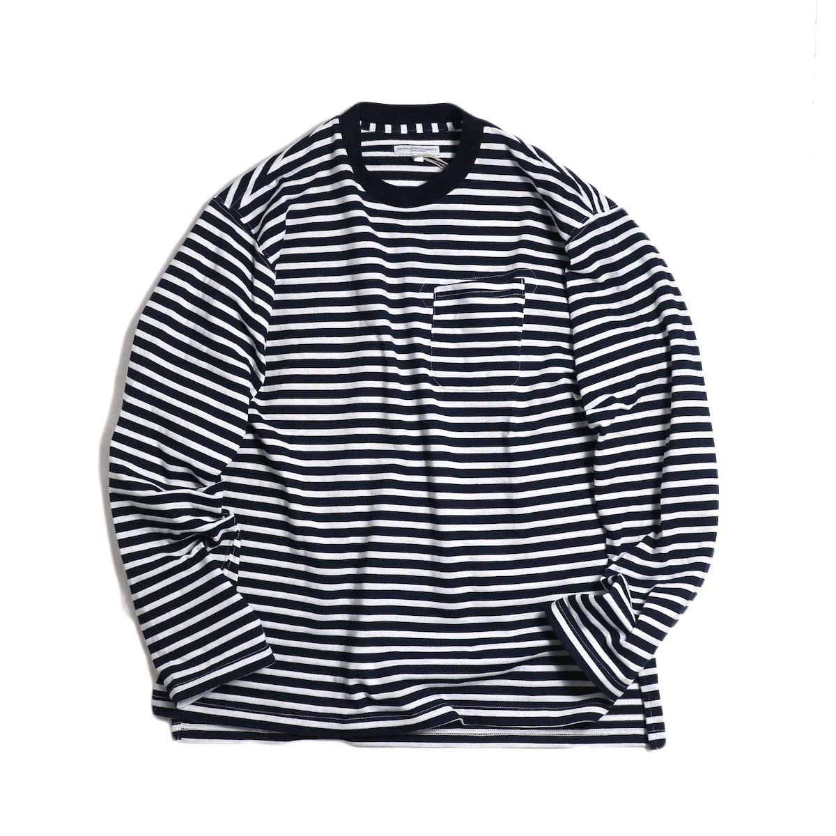ENGINEERED GARMENTS / Long Sleeve Crew -Pc St. Jersey (Navy/White) 正面