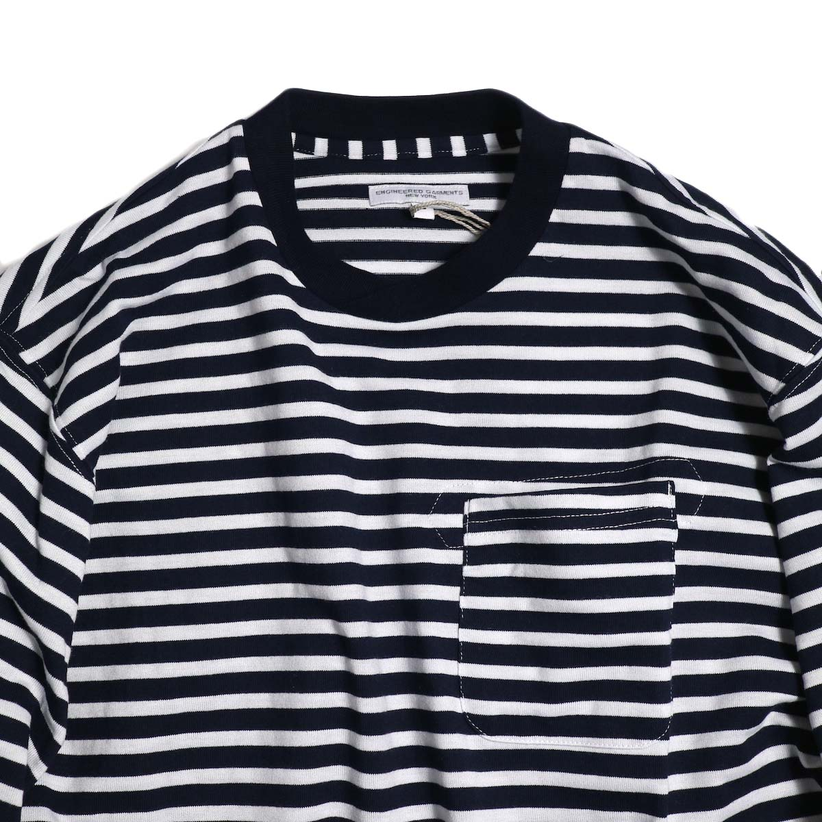 ENGINEERED GARMENTS / Long Sleeve Crew -Pc St. Jersey (Navy/White) 首元