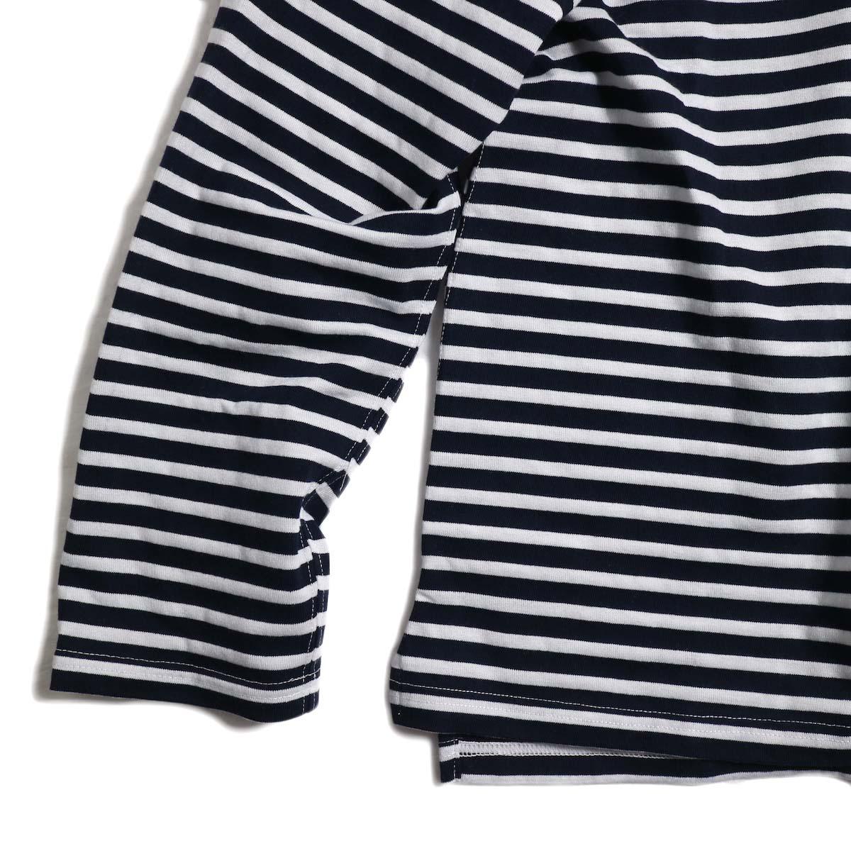 ENGINEERED GARMENTS / Long Sleeve Crew -Pc St. Jersey (Navy/White) 裾