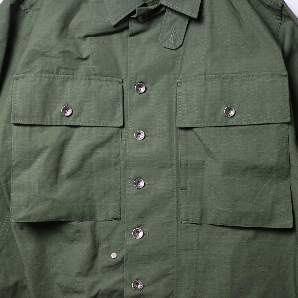 Engineered Garments / M43/2 Shirt Jacket -Cotton Ripstop (Olive)ポケット