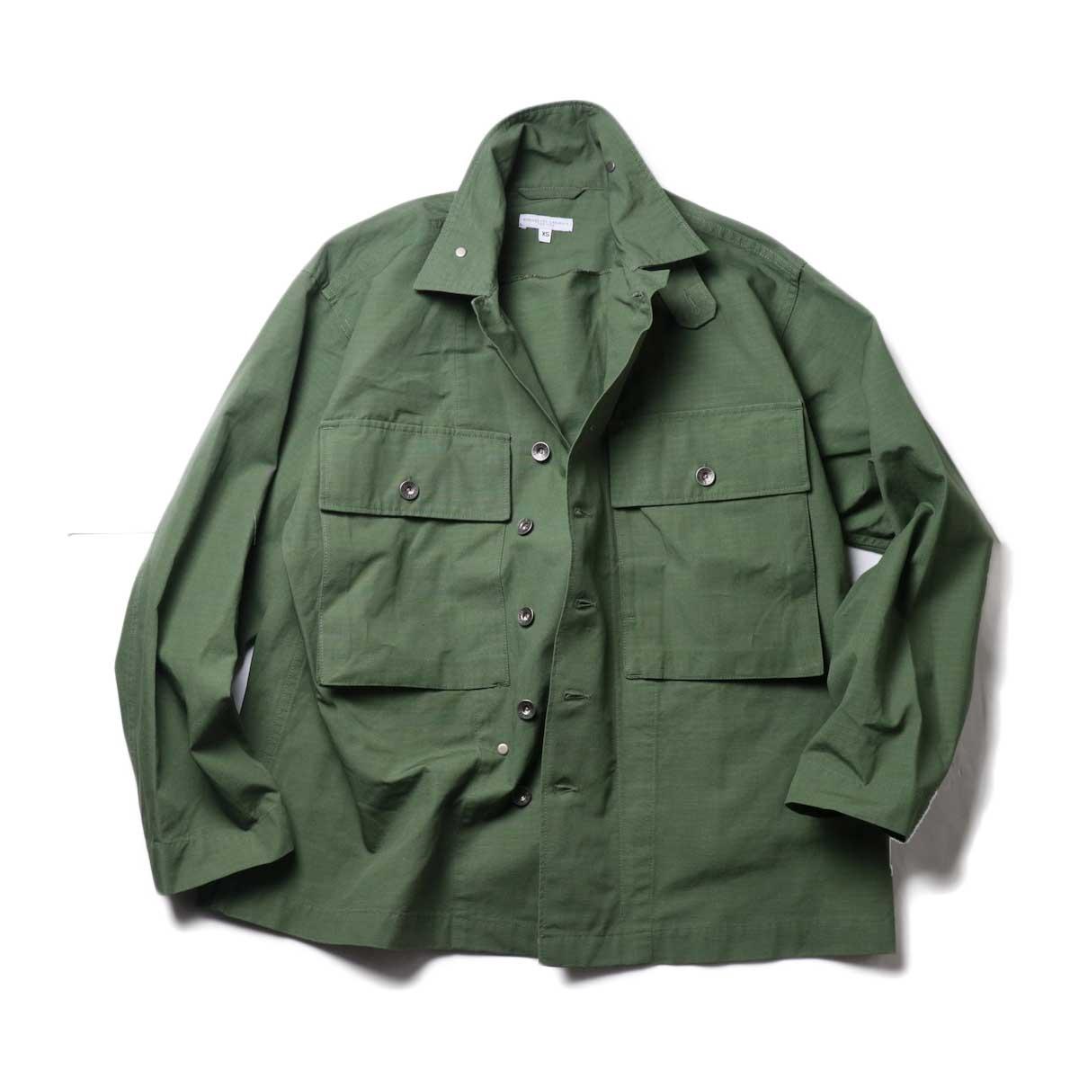 Engineered Garments / M43/2 Shirt Jacket -Cotton Ripstop (Olive)ボタン開けた場合