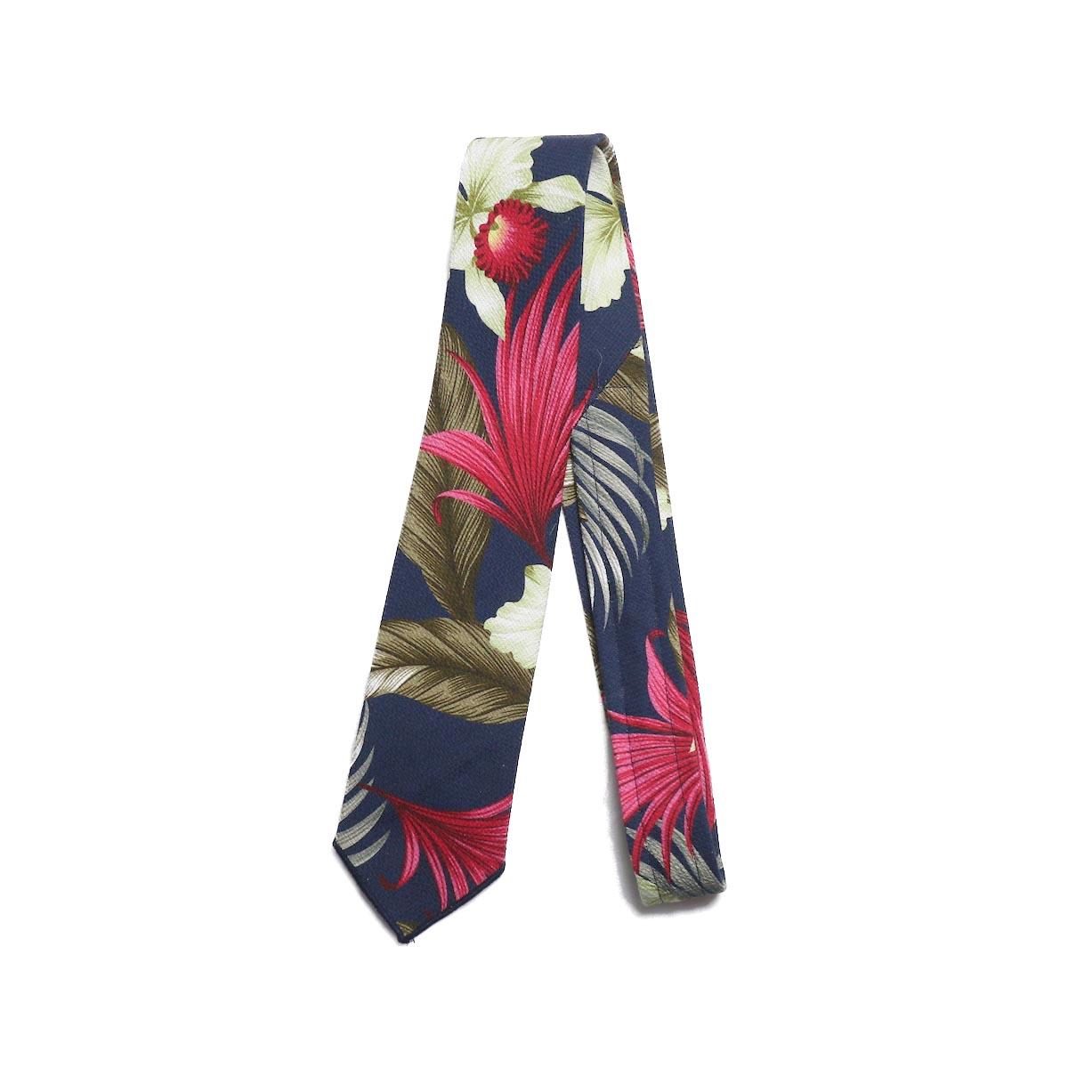 Engineered Garments / Neck Tie -Hawaiian floral java cloth (Navy)