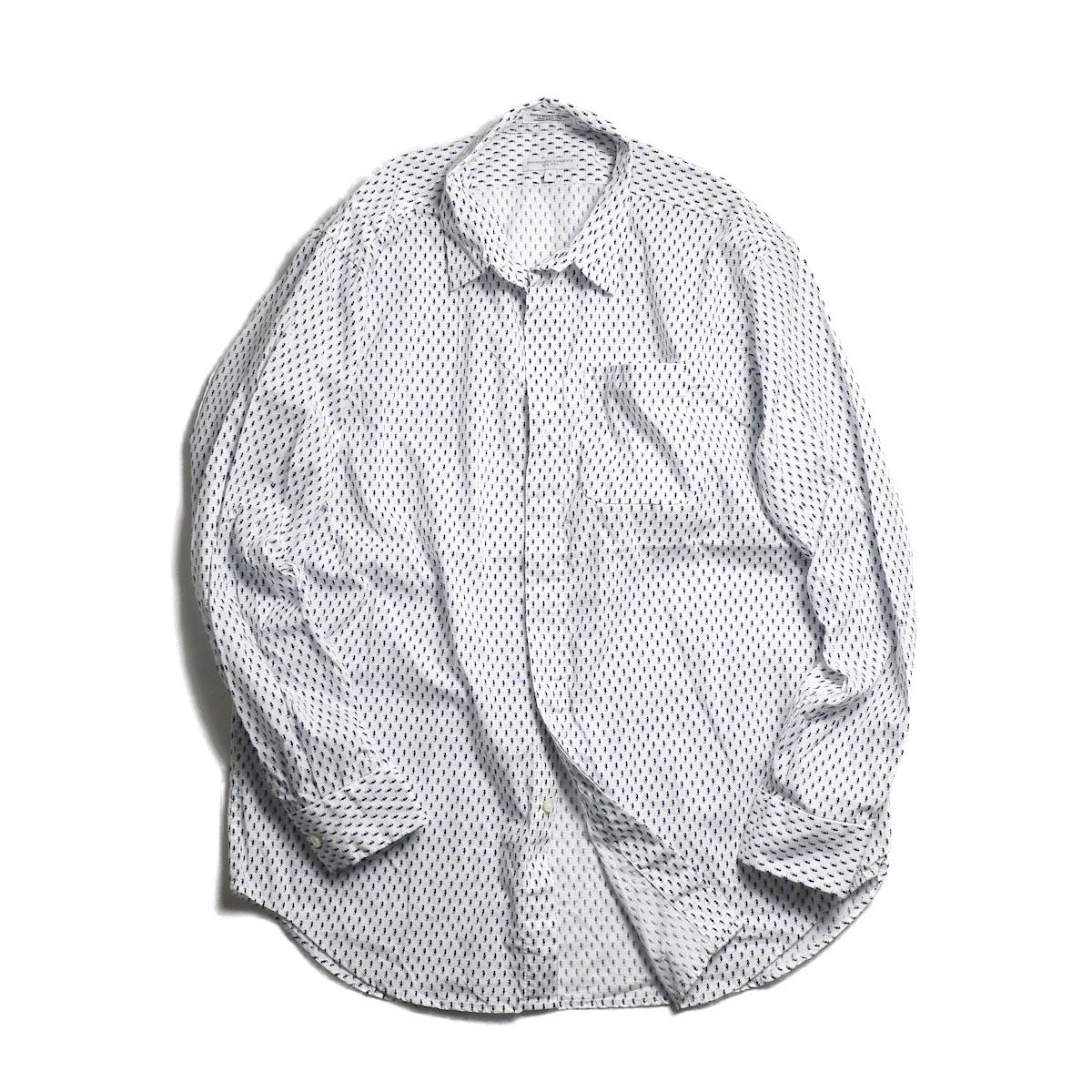 ENGINEERED GARMENTS / Short Collar Shirt -Seahorse Print (Navy/White)