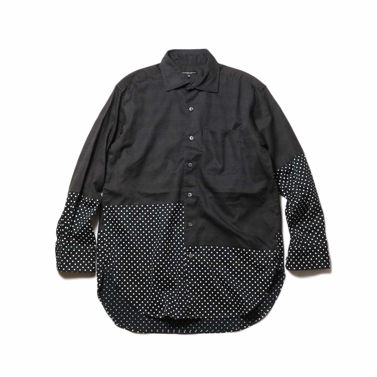 Engineered Garments / Spread Collar Shirt -Glen Plaid (Grey)正面
