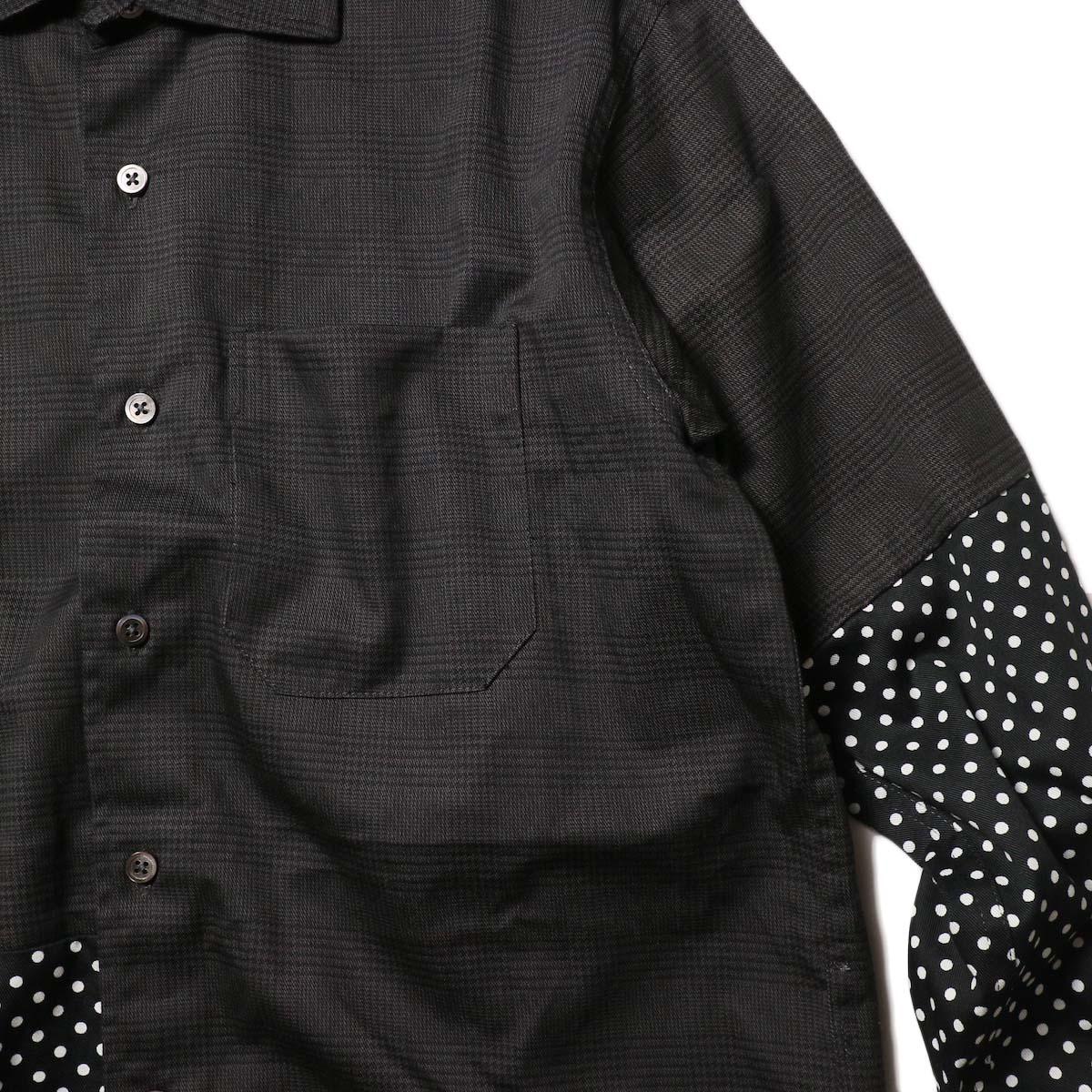 Engineered Garments / Spread Collar Shirt -Glen Plaid (Grey)ポケット