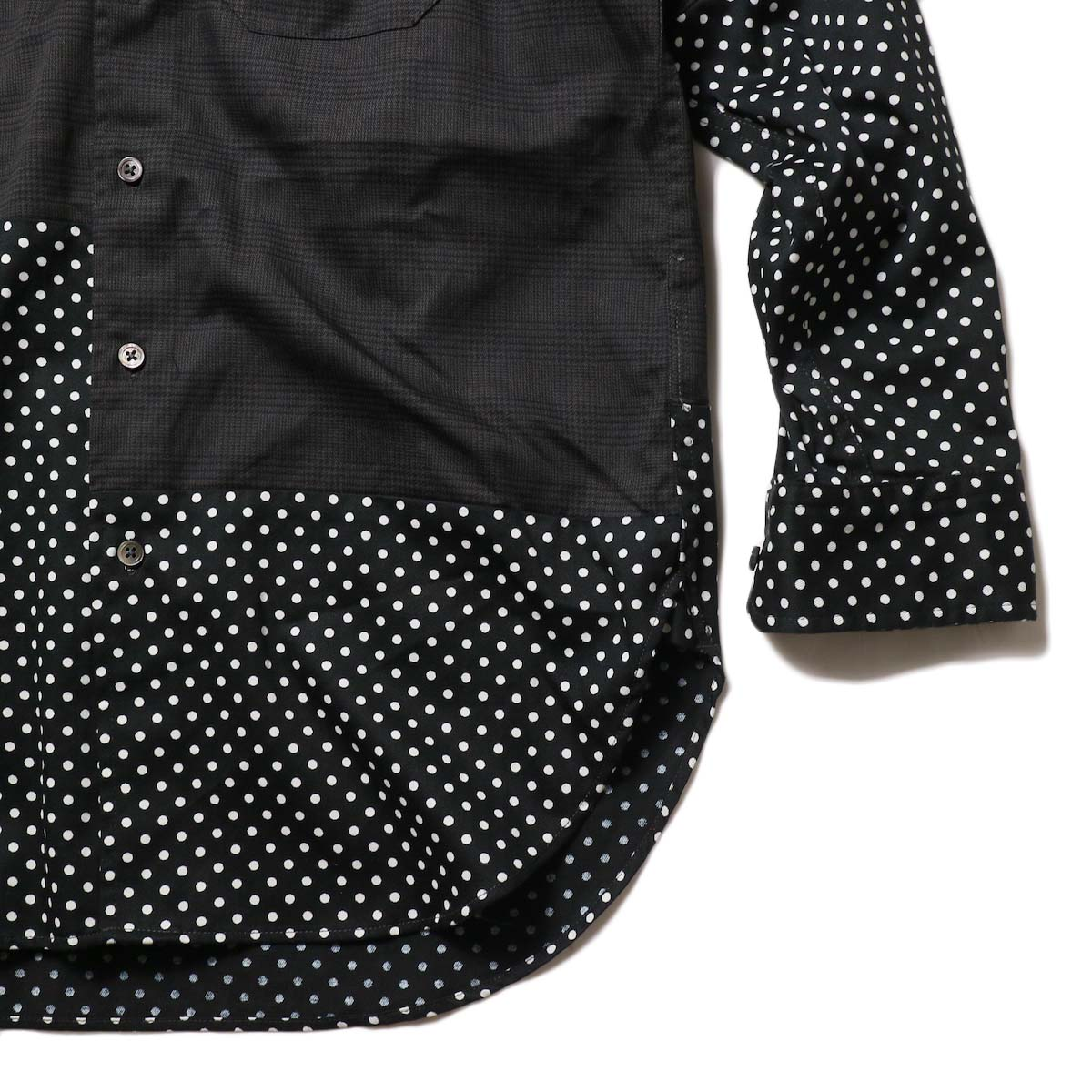 Engineered Garments / Spread Collar Shirt -Glen Plaid (Grey)裾