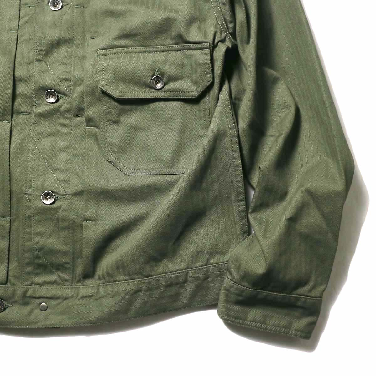 Engineered Garments / Trucker Jacket -Hb Twill (Olive)袖、裾