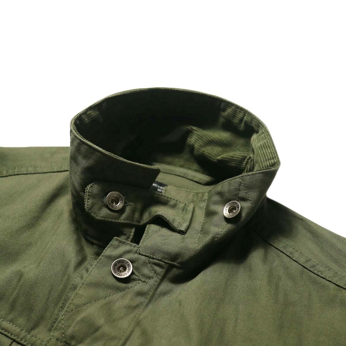 Engineered Garments / Trucker Jacket -Hb Twill (Olive)襟、チンフラップ