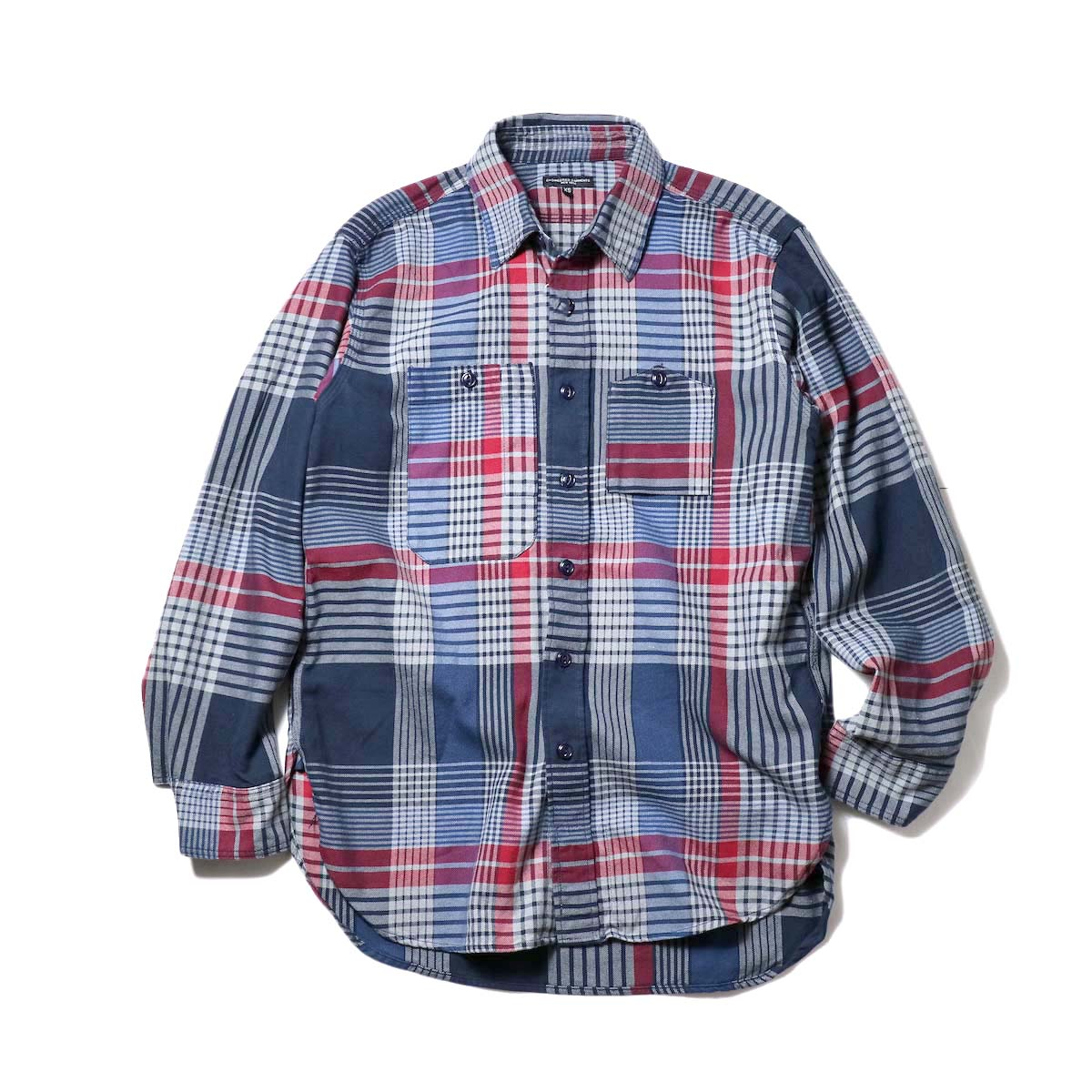 Engineered Garments / Work Shirt-Twill Plaid (Navy/Gray/Red)
