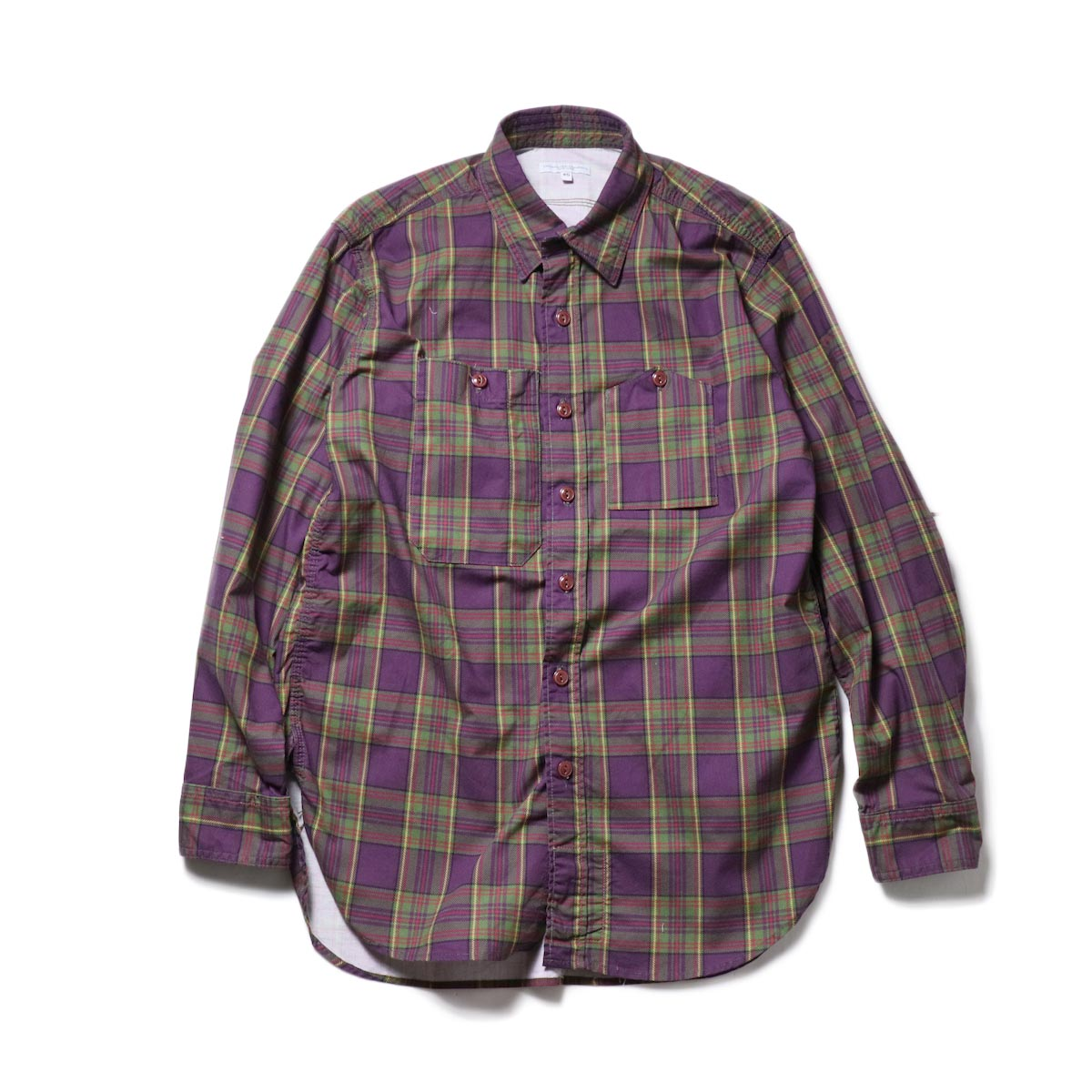Engineered Garments / Work Shirt -Cotton Printed Plaid (Purple)正面