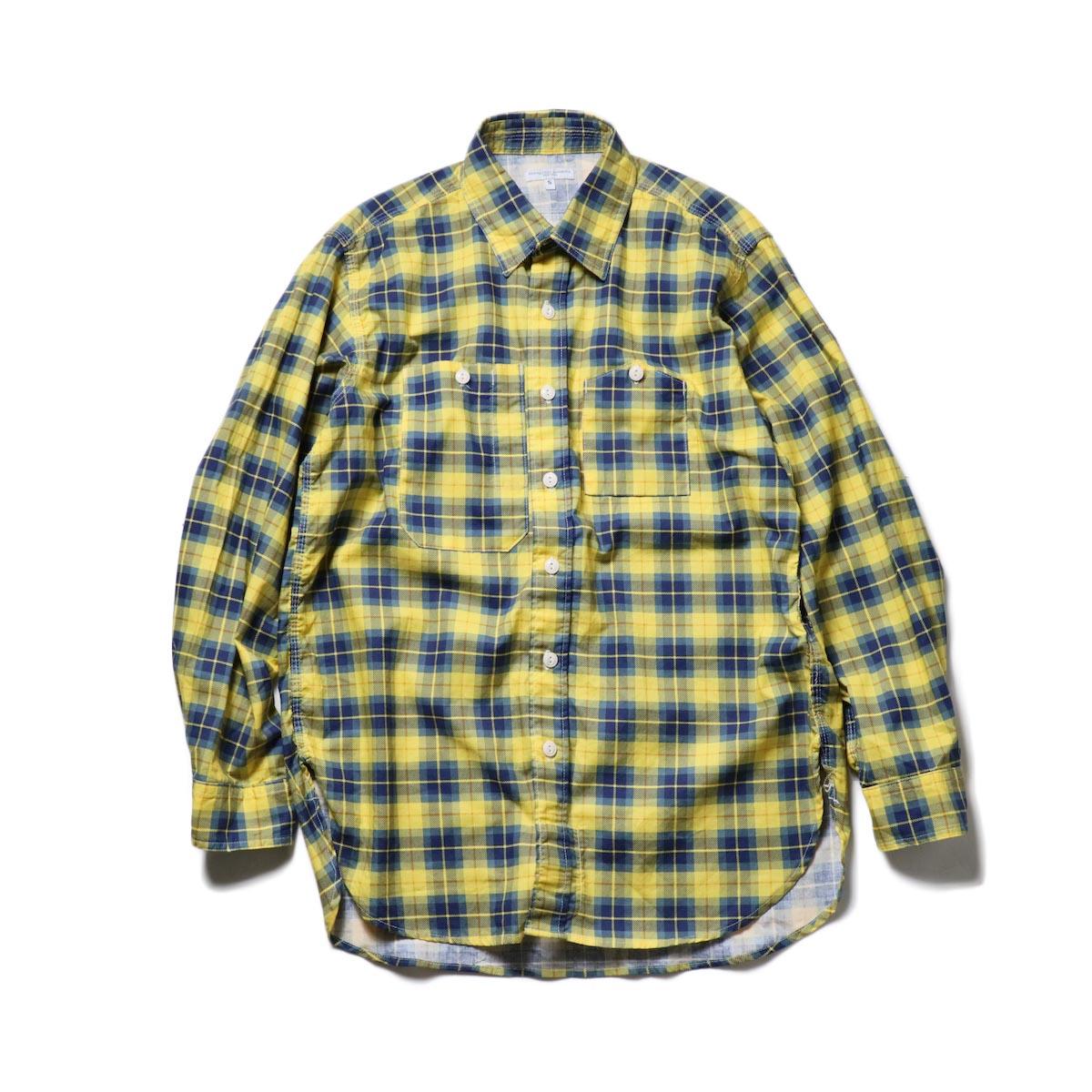 Engineered Garments / Work Shirt -Cotton Printed Plaid (Yellow)正面