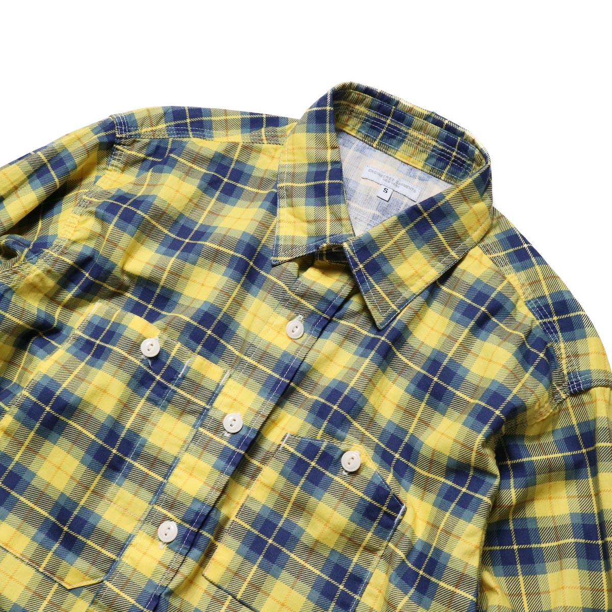 Engineered Garments / Work Shirt -Cotton Printed Plaid (Yellow)襟