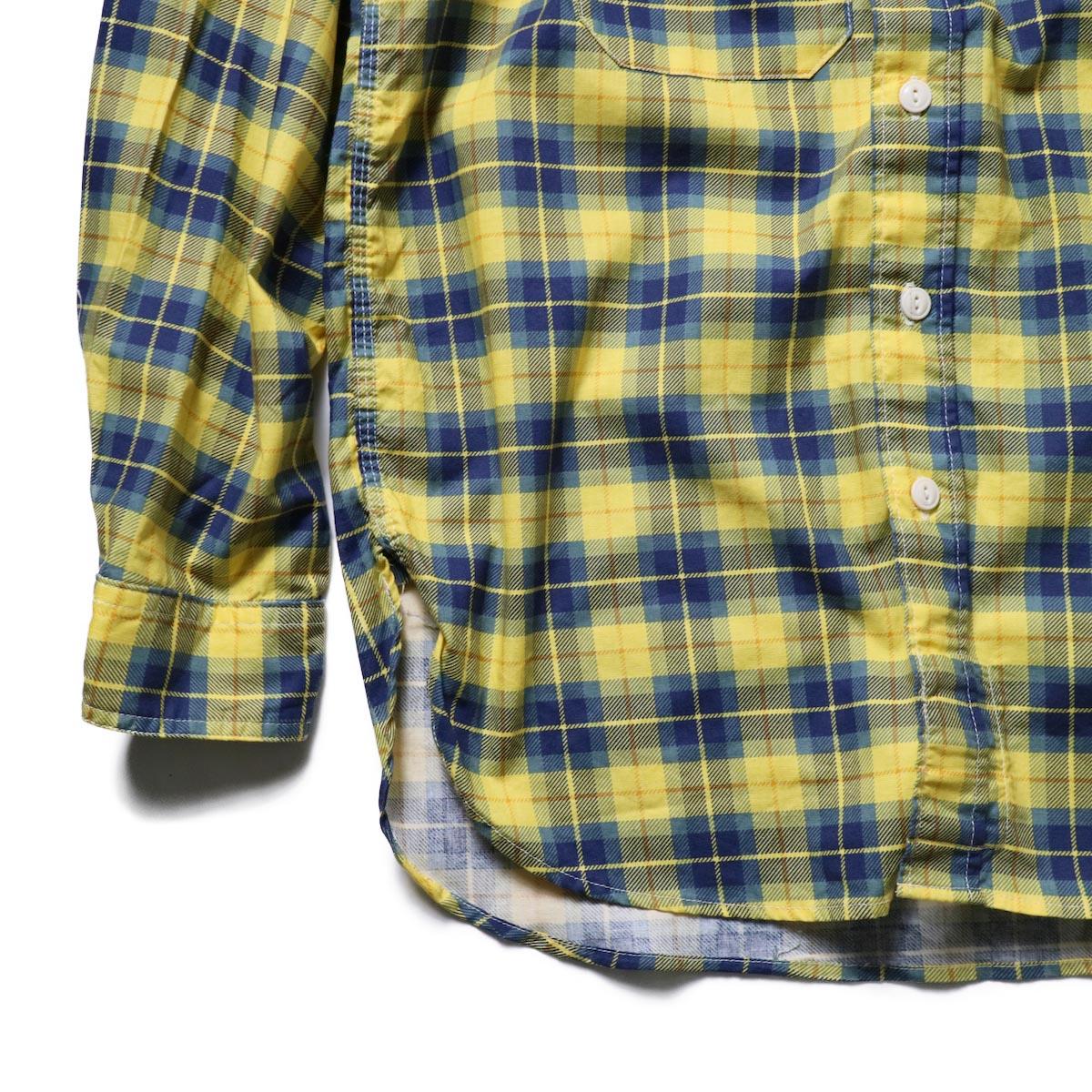 Engineered Garments / Work Shirt -Cotton Printed Plaid (Yellow)袖、裾