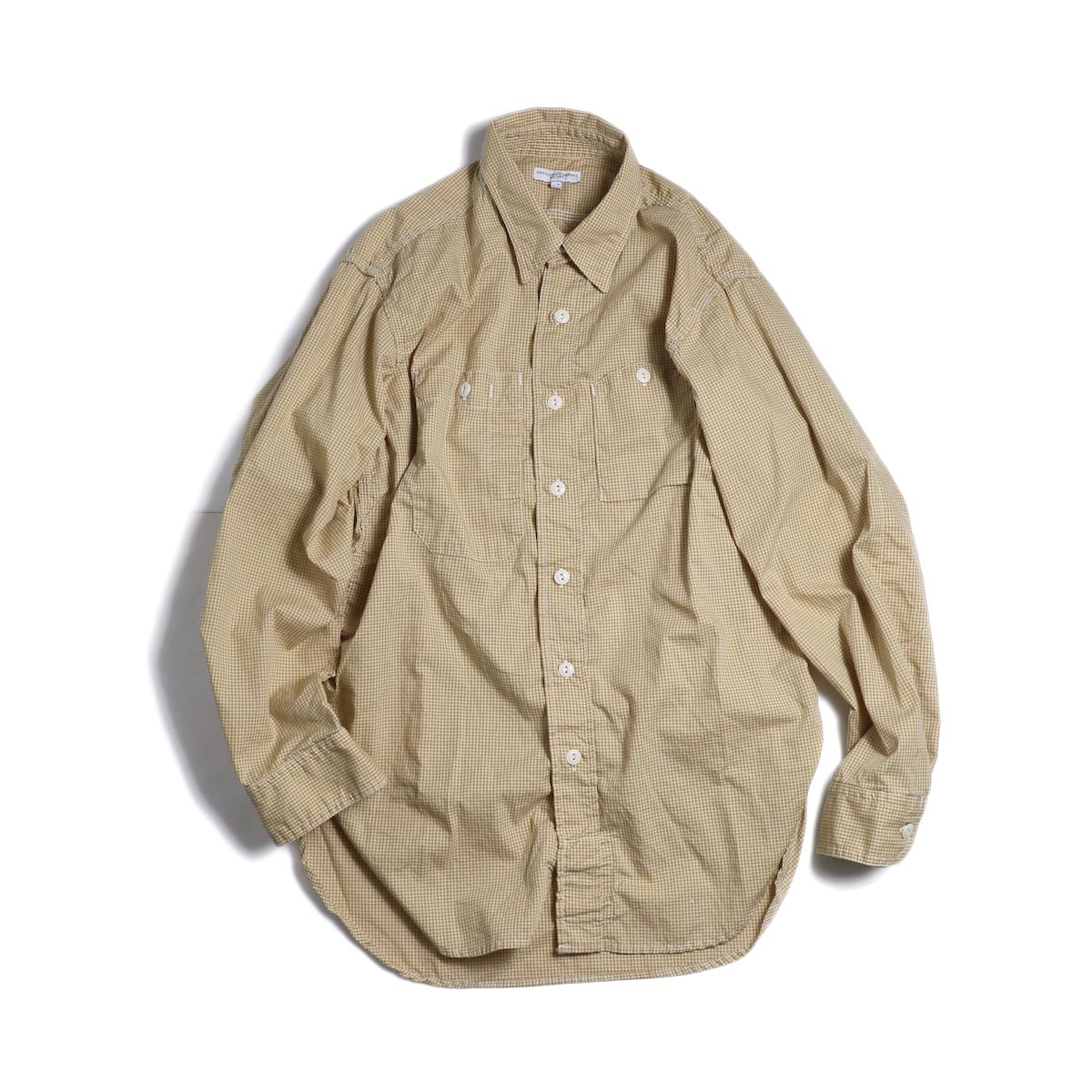 ENGINEERED GARMENTS / Work Shirt -Small Gingham Broadcloth (Gold) 正面