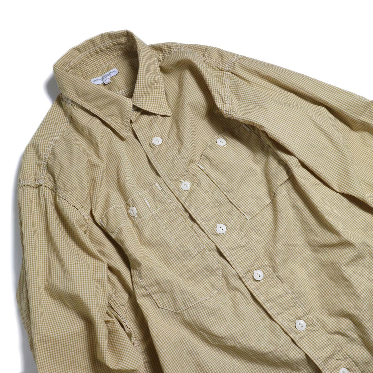 ENGINEERED GARMENTS / Work Shirt -Small Gingham Broadcloth (Gold) 襟元