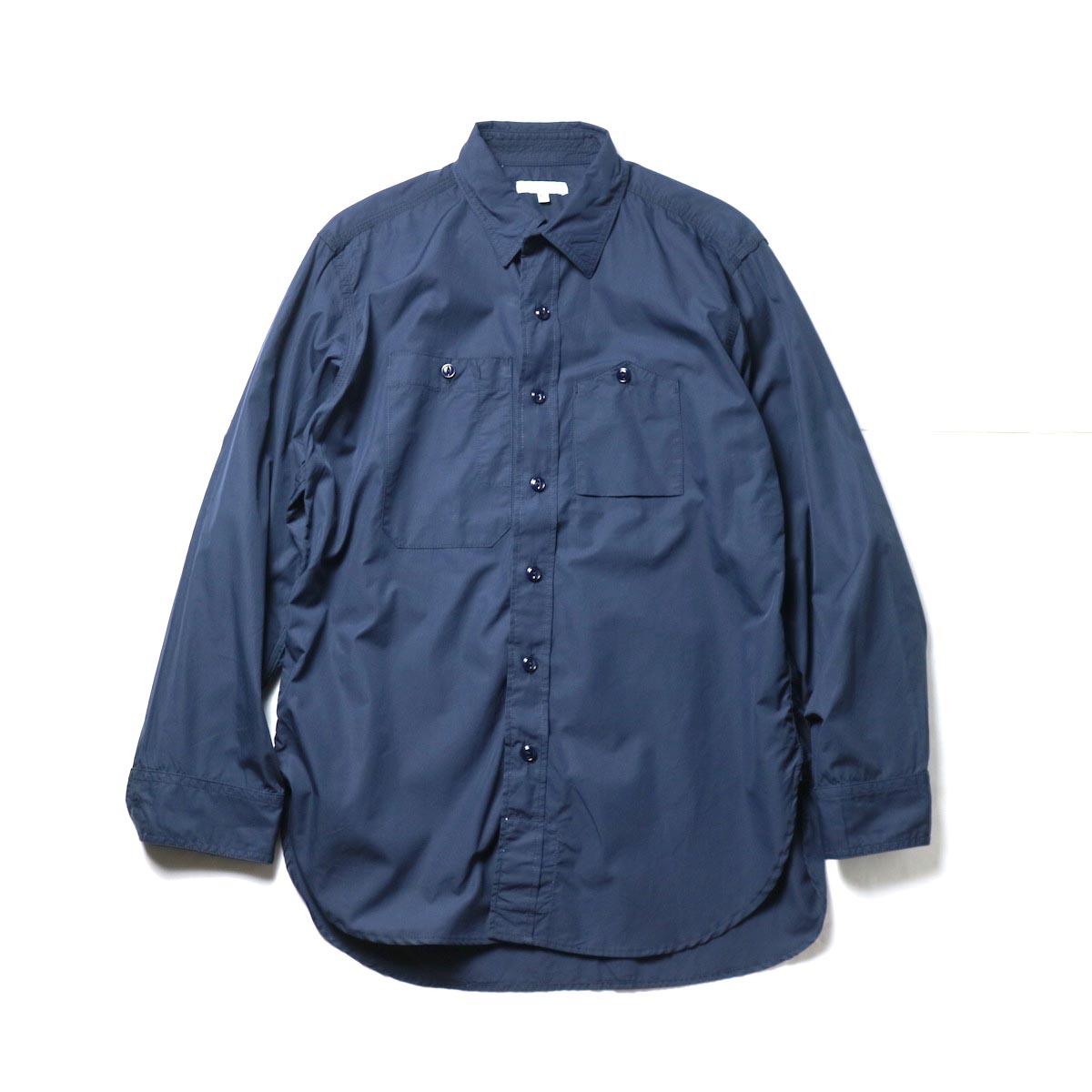 Engineered Garments / Banded Collar Shirt -100's 2Ply Broadcloth (Dk.Navy)