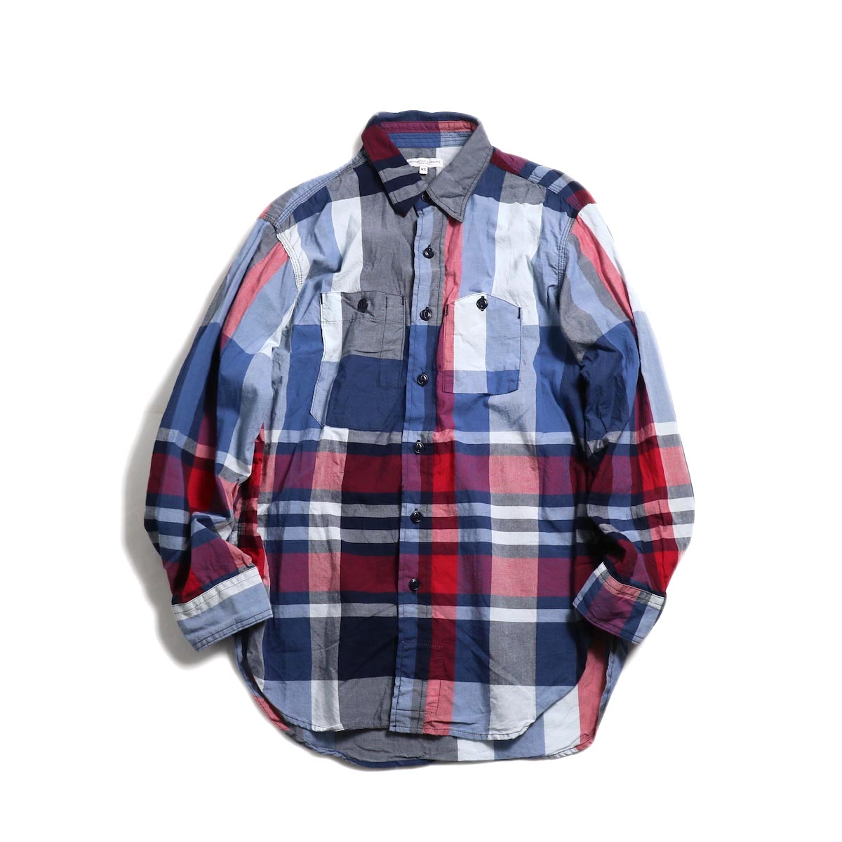ENGINEERED GARMENTS / Work Shirt -Big Madras Plaid (Navy/Red) 正面