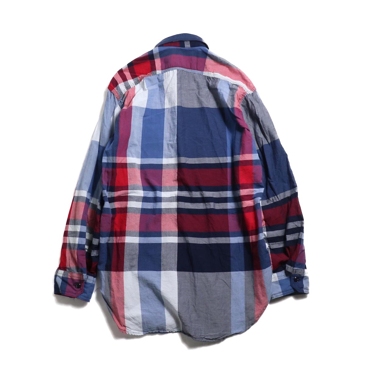 ENGINEERED GARMENTS / Work Shirt -Big Madras Plaid (Navy/Red)  背面
