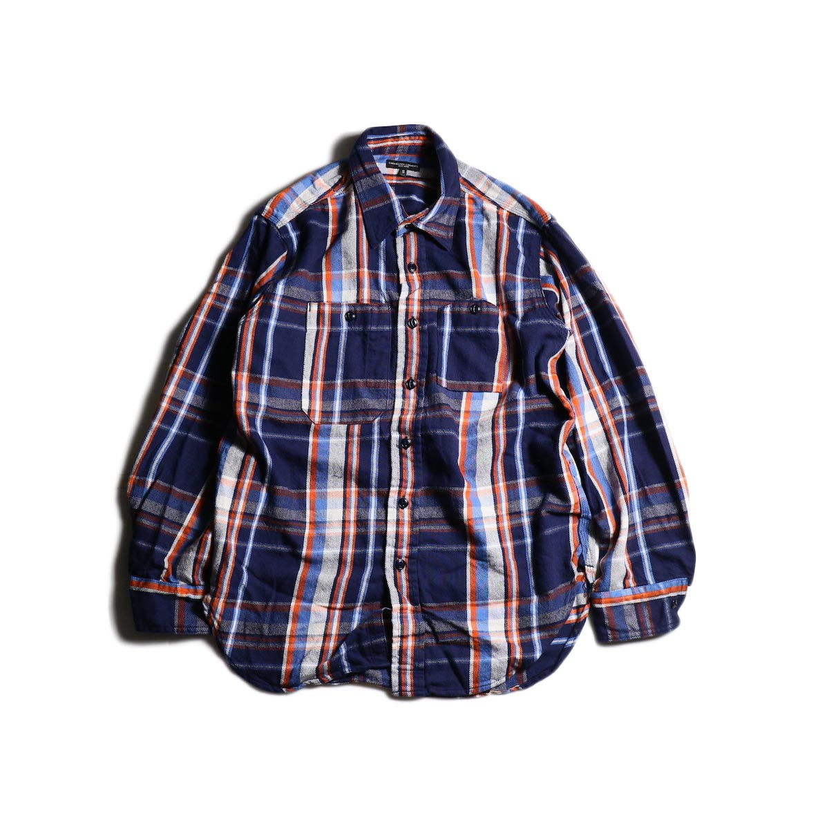 Engineered Garments / Work Shirt -Twill Plaid (Navy/Org/Lt.Blu)
